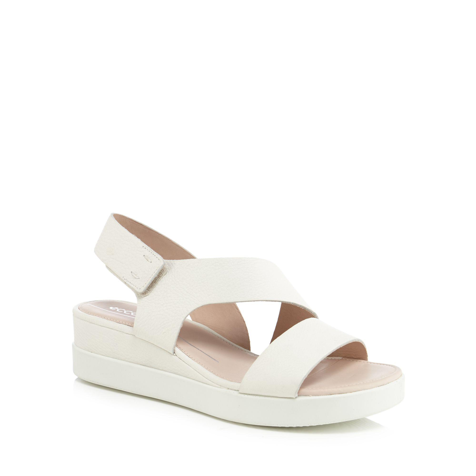 fa54c601859 Ecco White Leather  touch Sandal Plateau  Mid Wedge Heel Sandals in ...