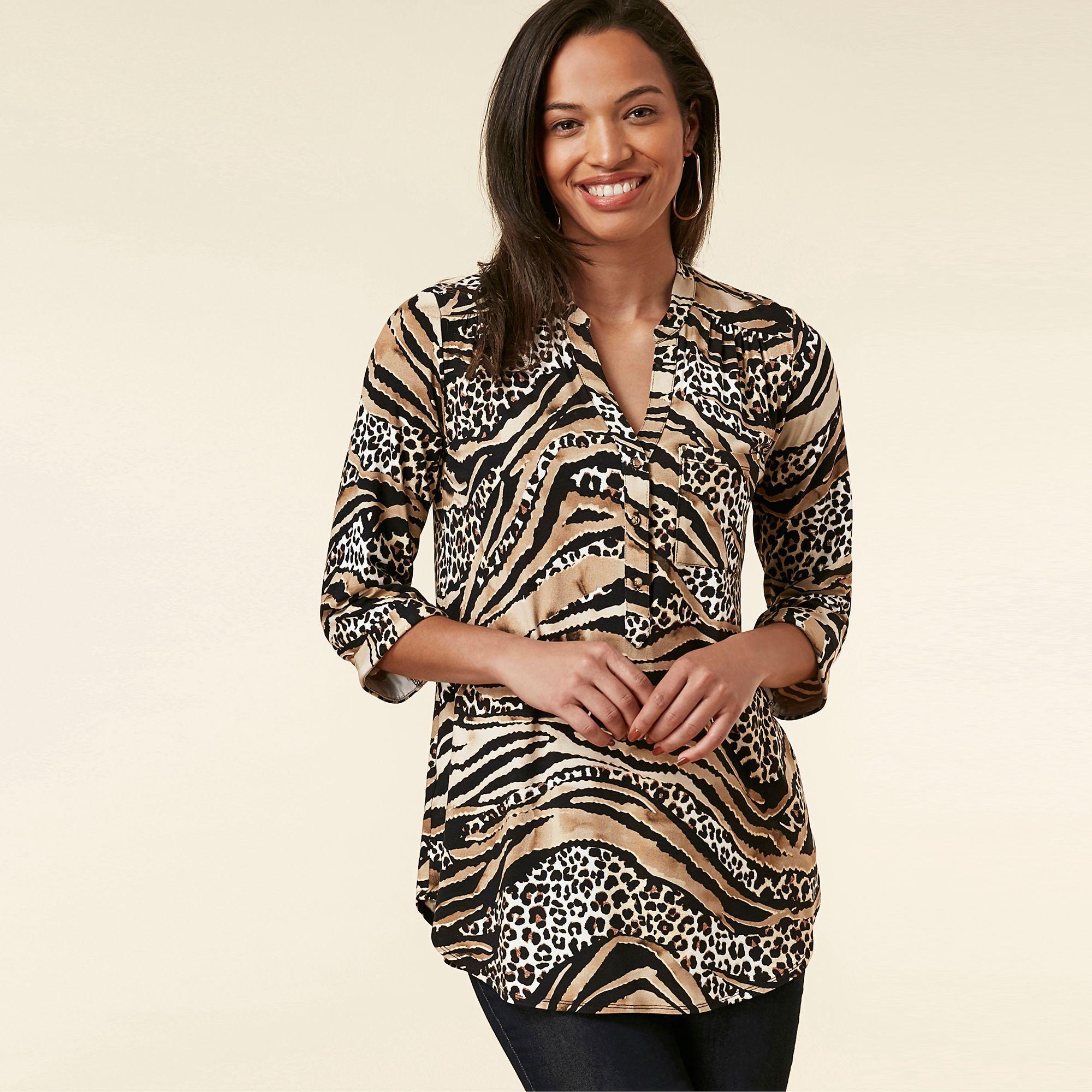 7a7127aceac38e Wallis. Women's Multicoloured Animal Print Shirt