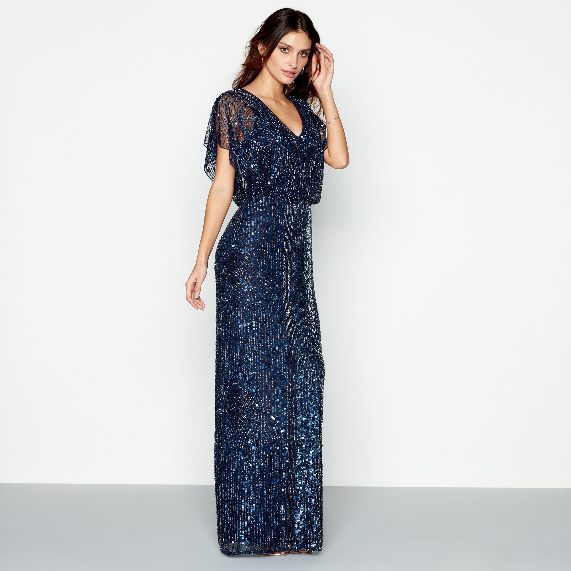 637787290 Jenny Packham Navy Embellished  anthea  V-neck Maxi Dress in Blue - Lyst