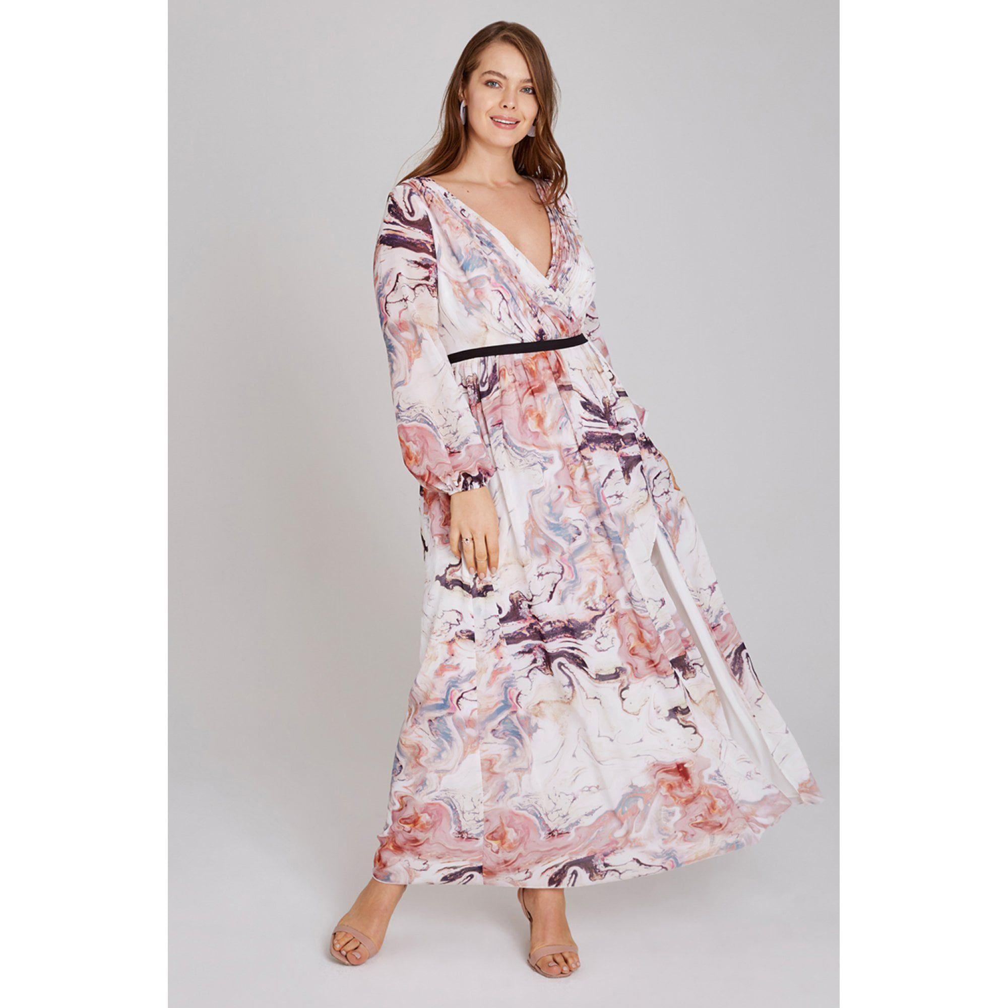 922495aba9c895 Little Mistress Multicoloured Lea Mock Wrap Marble Maxi Dress - Lyst