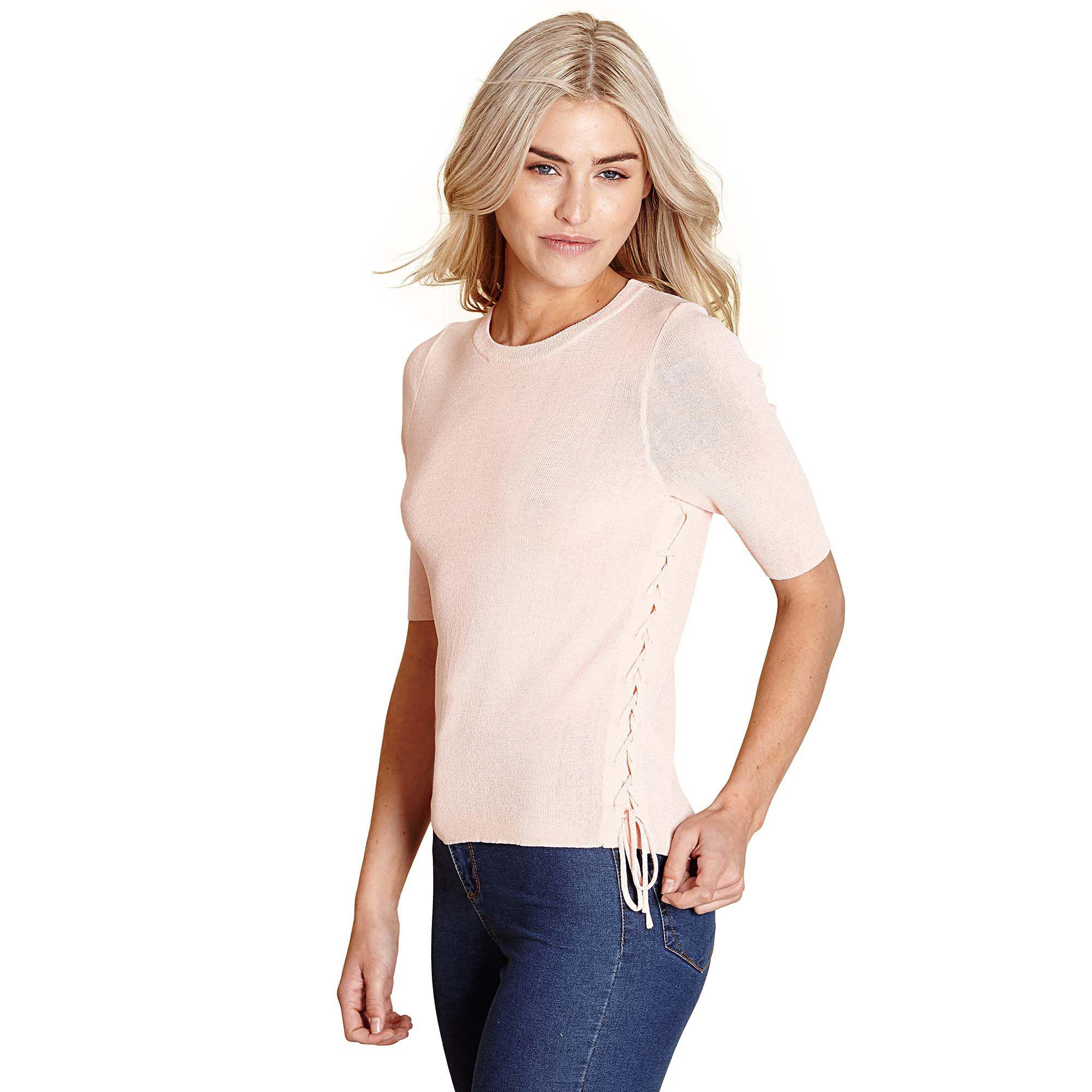 b7b09d7a57 Yumi  Mid Rose Ribbed Tie Up Jumper in Pink - Lyst