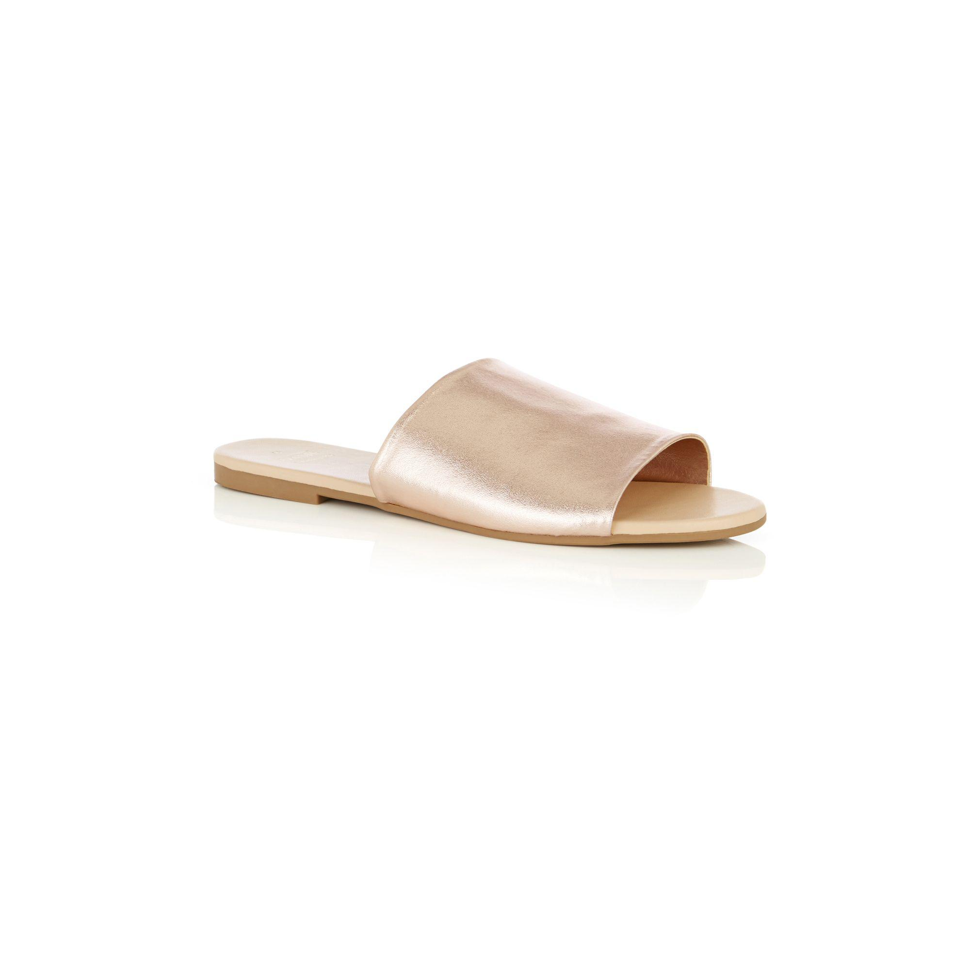 59b38c64fc27 Oasis Rose Gold Leather 'lola' Mules in Metallic - Lyst
