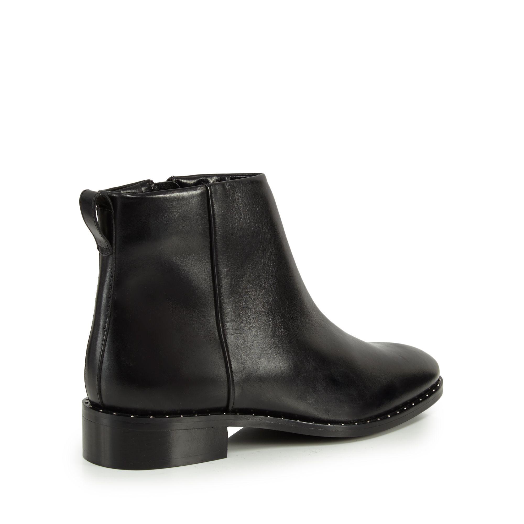 J By Jasper Conran Black Leather 'judd' Block Heel Ankle Boots