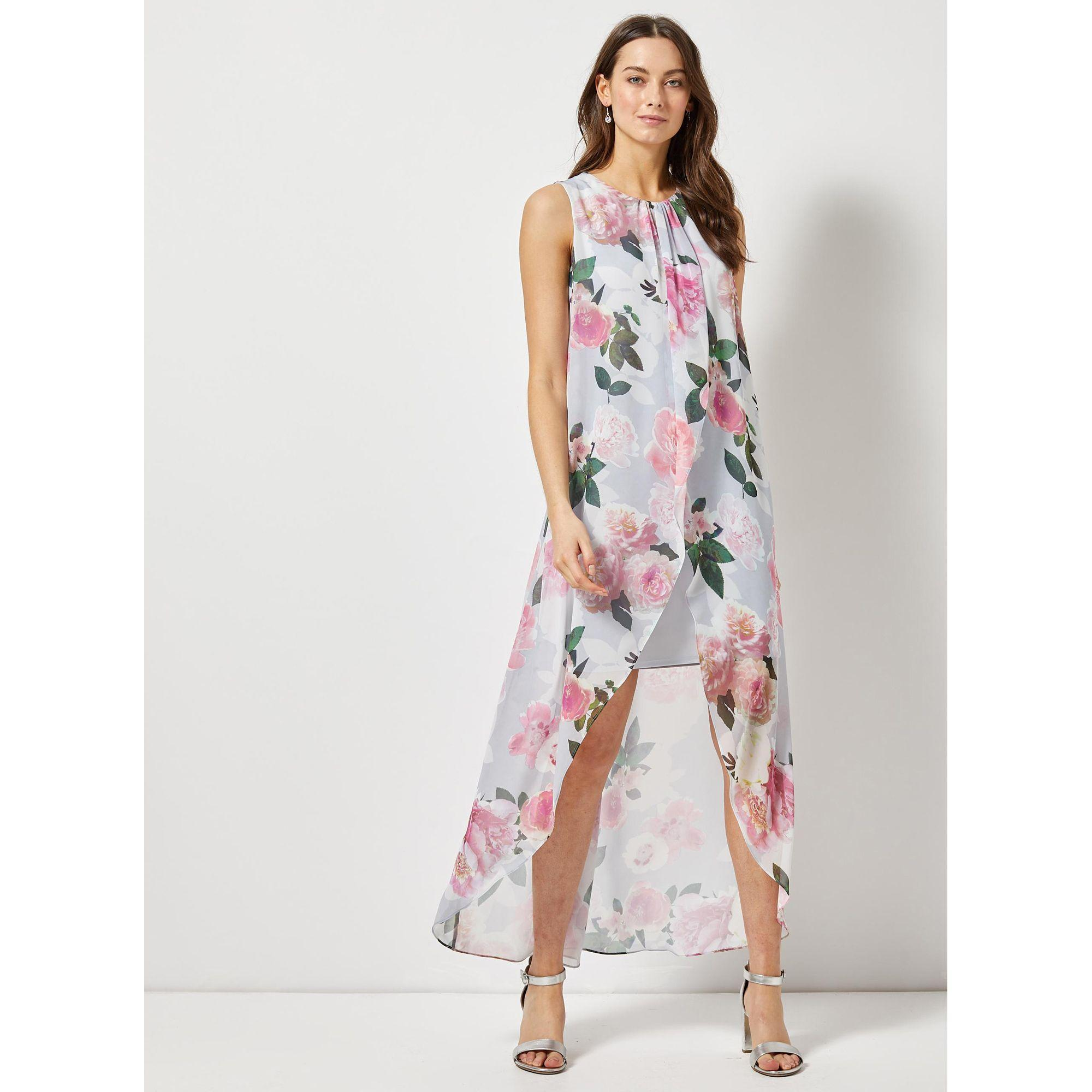 02b8abf34f823 Dorothy Perkins. Women's Gray Billie And Blossom Grey Floral Print Maxi Trapeze  Dress