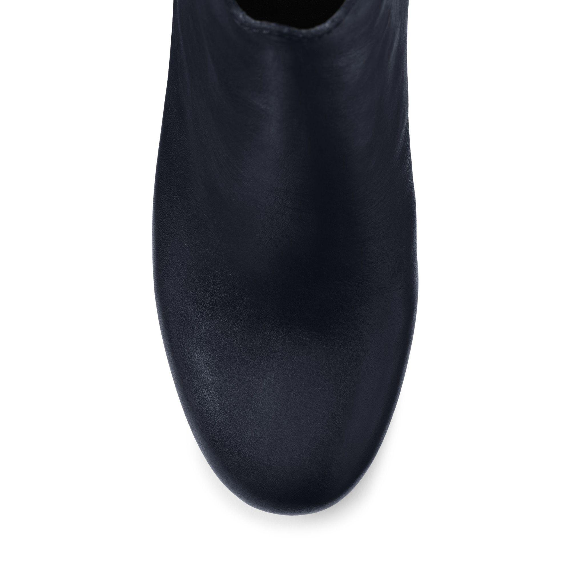 Lands' End Leather Blue Regular Scalloped Ankle Boots