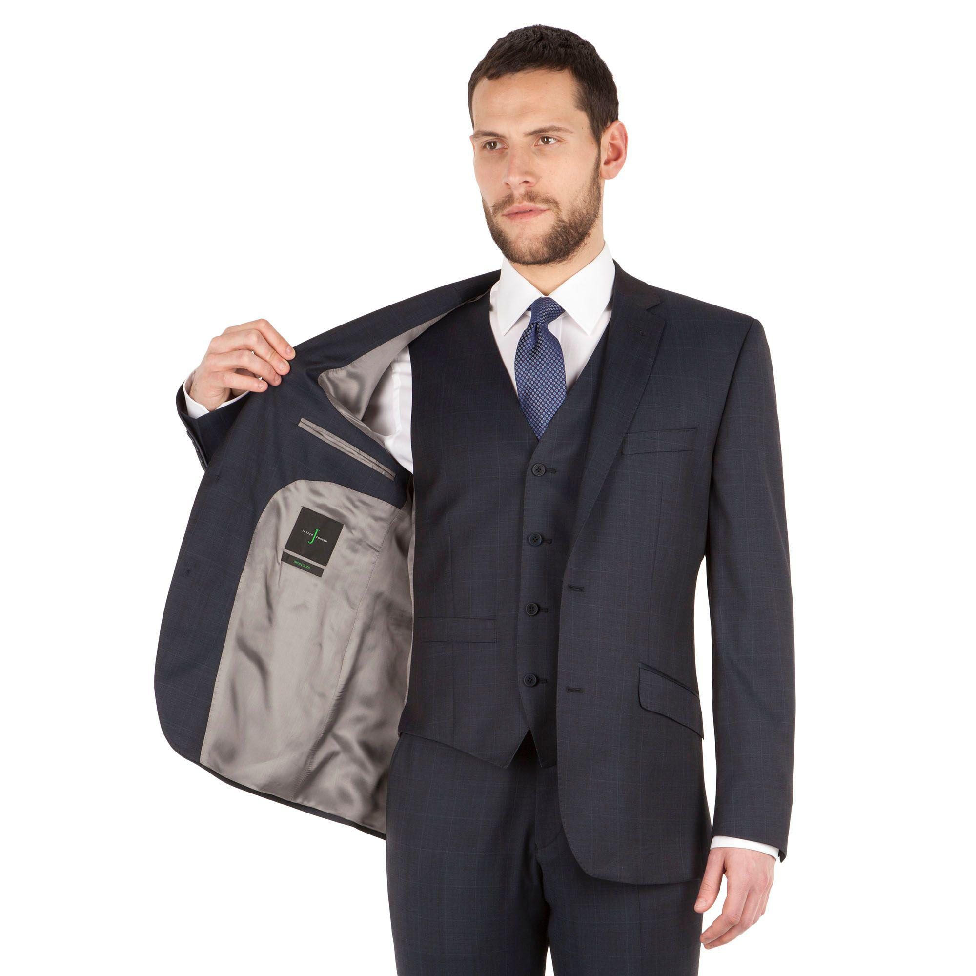 728c83c0c J By Jasper Conran - Blue Windowpane Check 2 Button Front Tailored Fit  Luxury Suit Jacket. View fullscreen