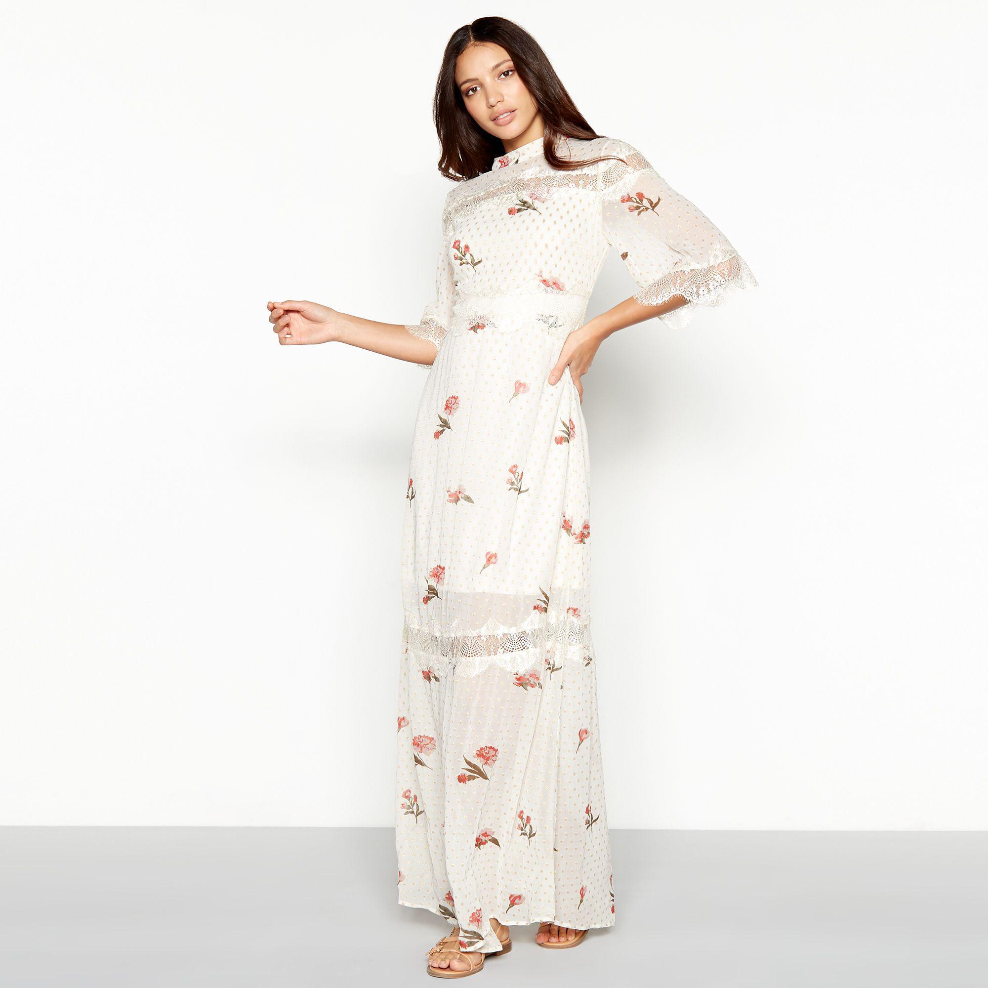 b1538dc25e3 Lace Chiffon Maxi Dress White