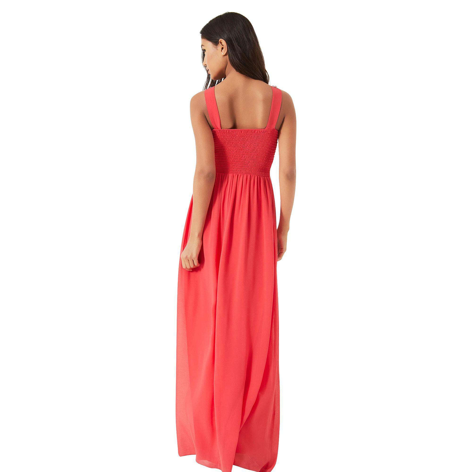 9c9c30188d Little Mistress Coral Embellished Maxi Dress in Orange - Lyst