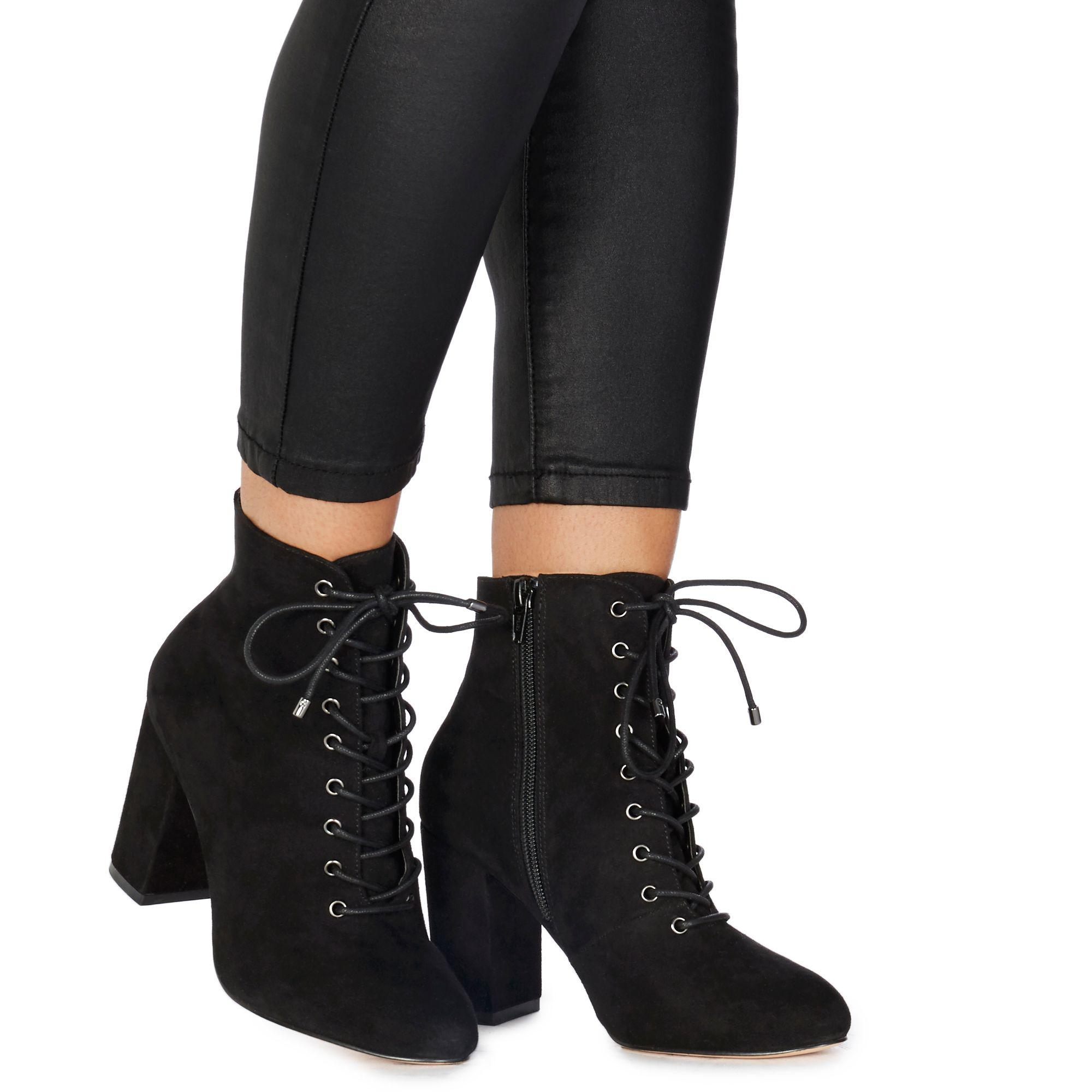 c825adb5ee Faith Black Suedette 'barb' High Block Heel Ankle Boots in Black - Lyst