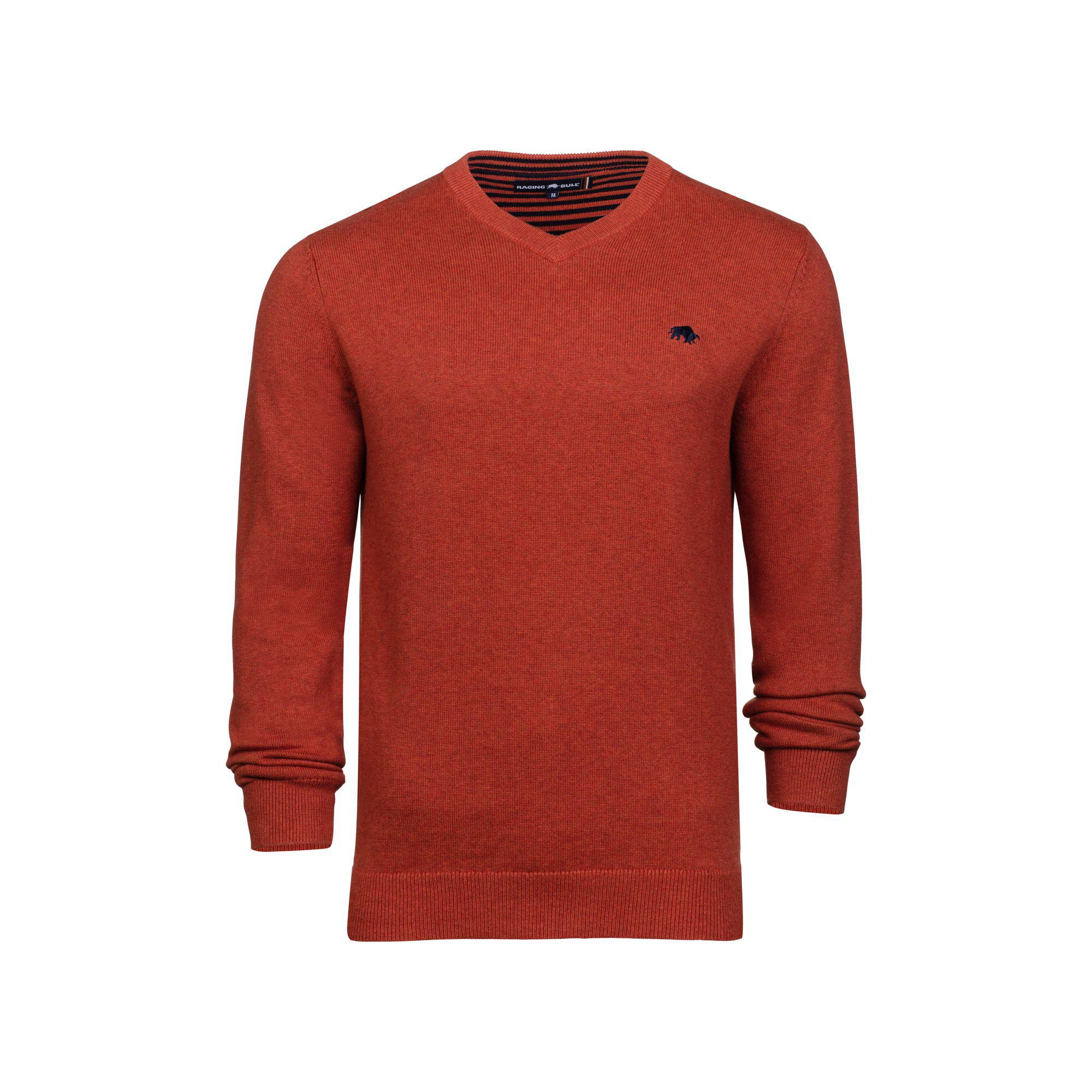 de011167a23571 Raging Bull Orange V-neck Cotton And Cashmere Sweater in Orange for ...