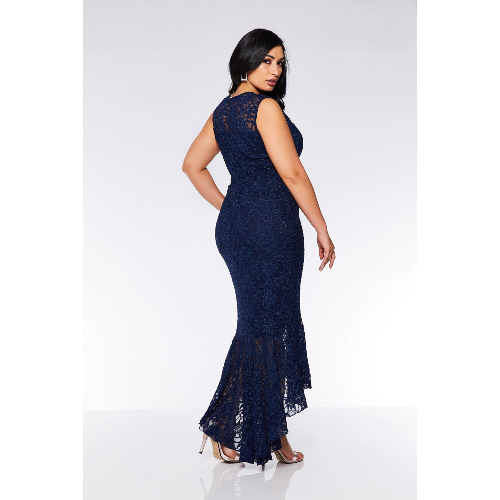 dd1176d27a2c1 Quiz Curve Navy Lace Glitter Dip Hem Maxi Dress in Blue - Lyst