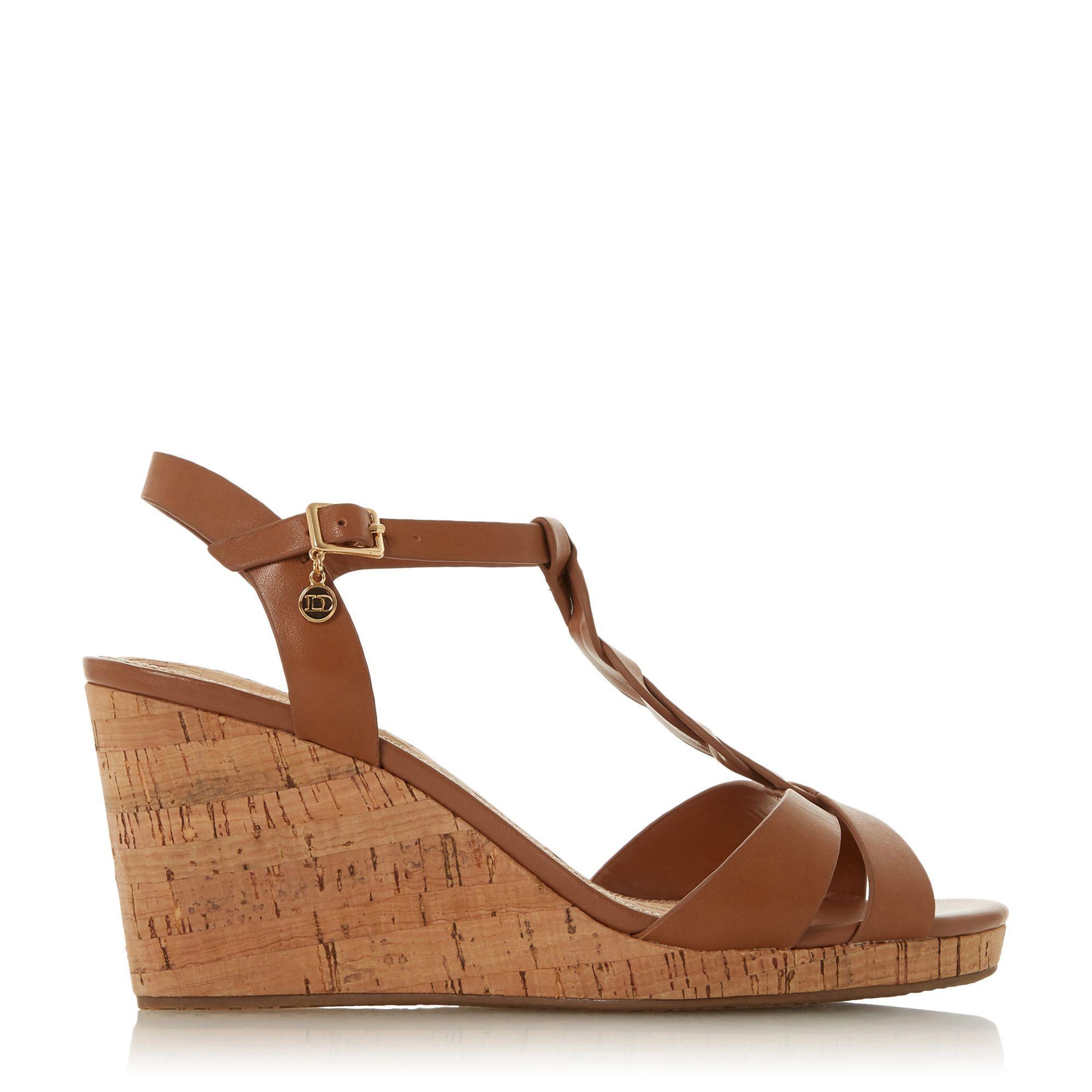 e1db0b79e2f Dune Tan Leather  wf Koala  High Wedge Heel Wide Fit T-bar Sandals ...