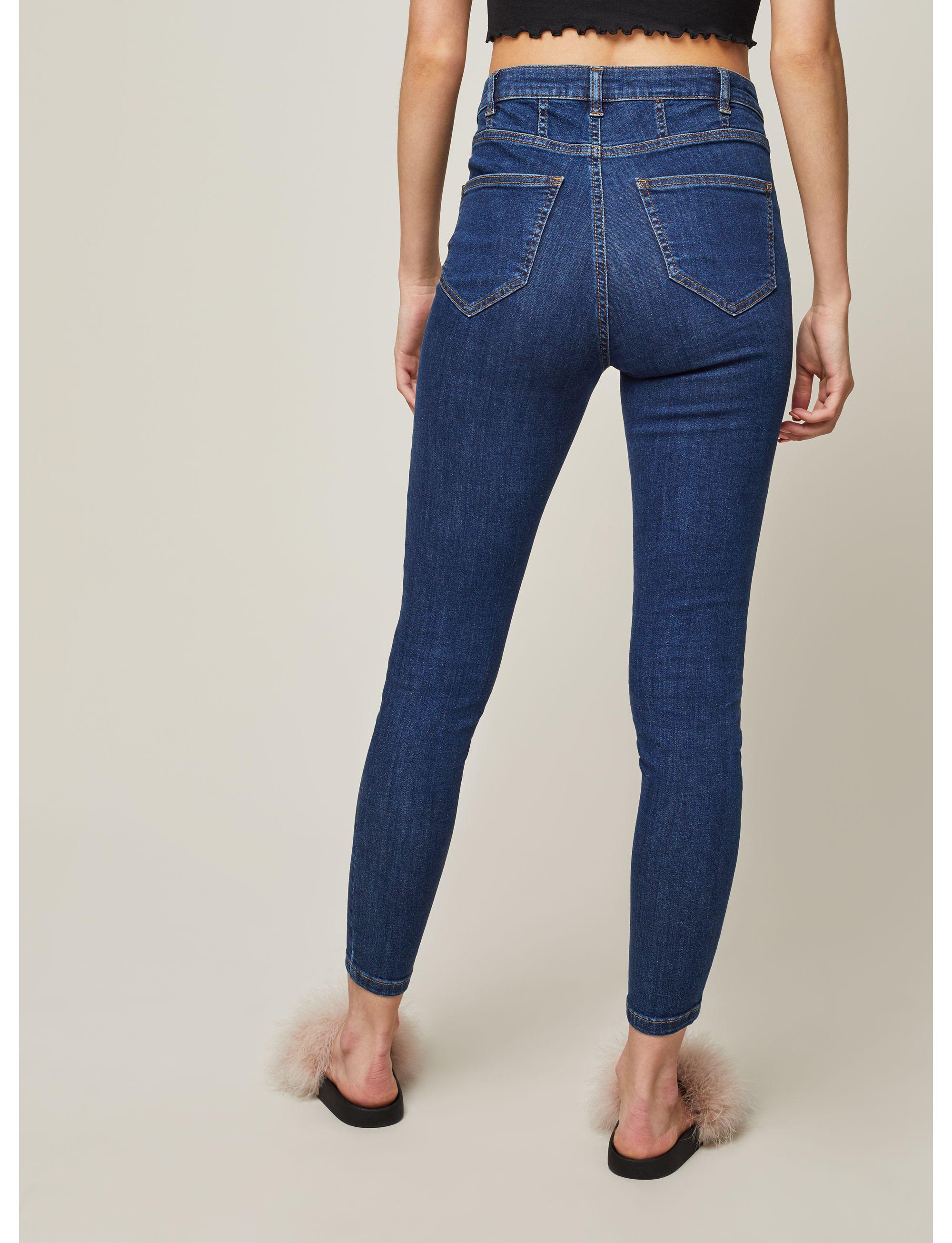 Miss Selfridge Denim Lizzie High Waist Super Skinny Indigo Corset Jeans in Blue