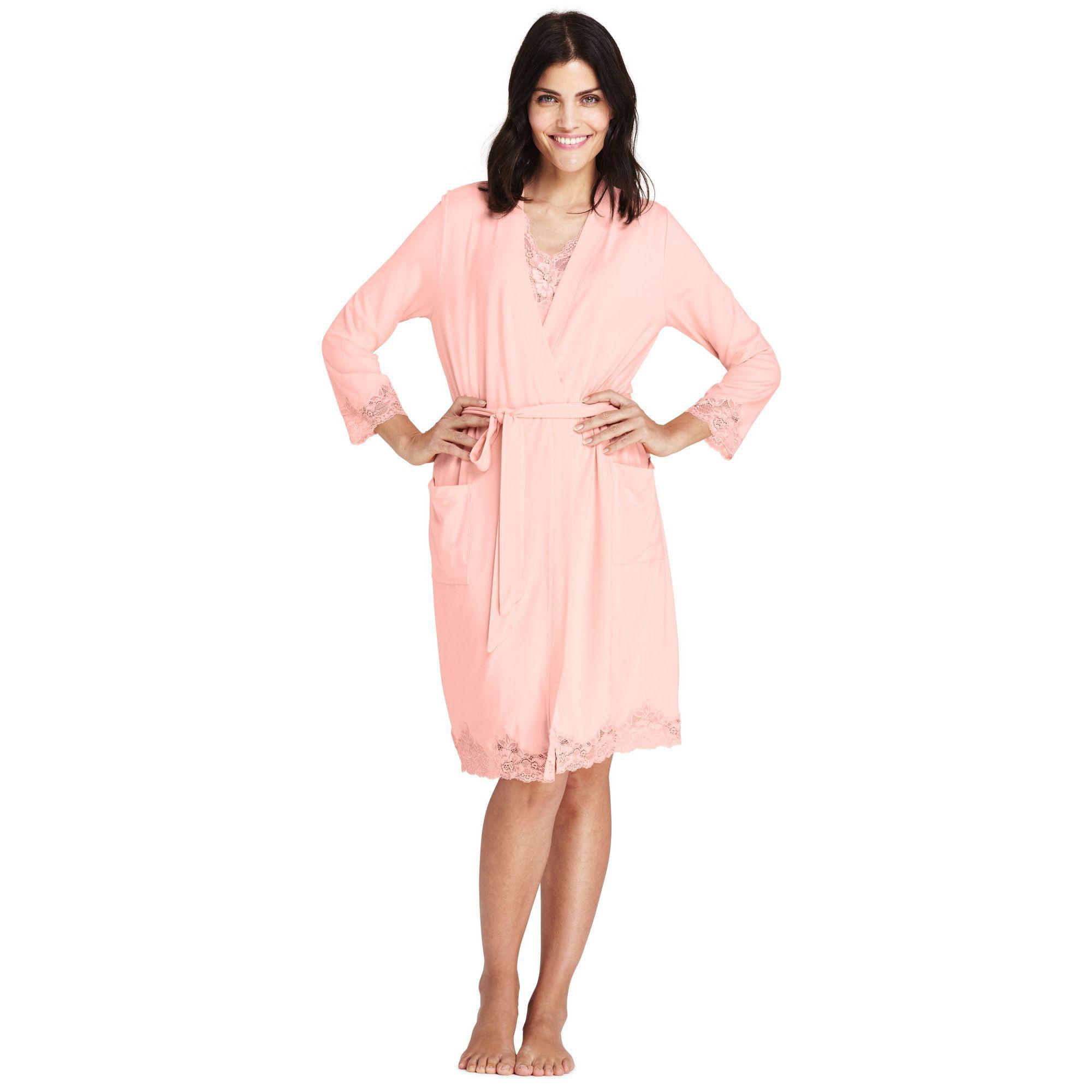 Lands  End Orange Cotton Modal Dressing Gown in Pink - Lyst d707b407c