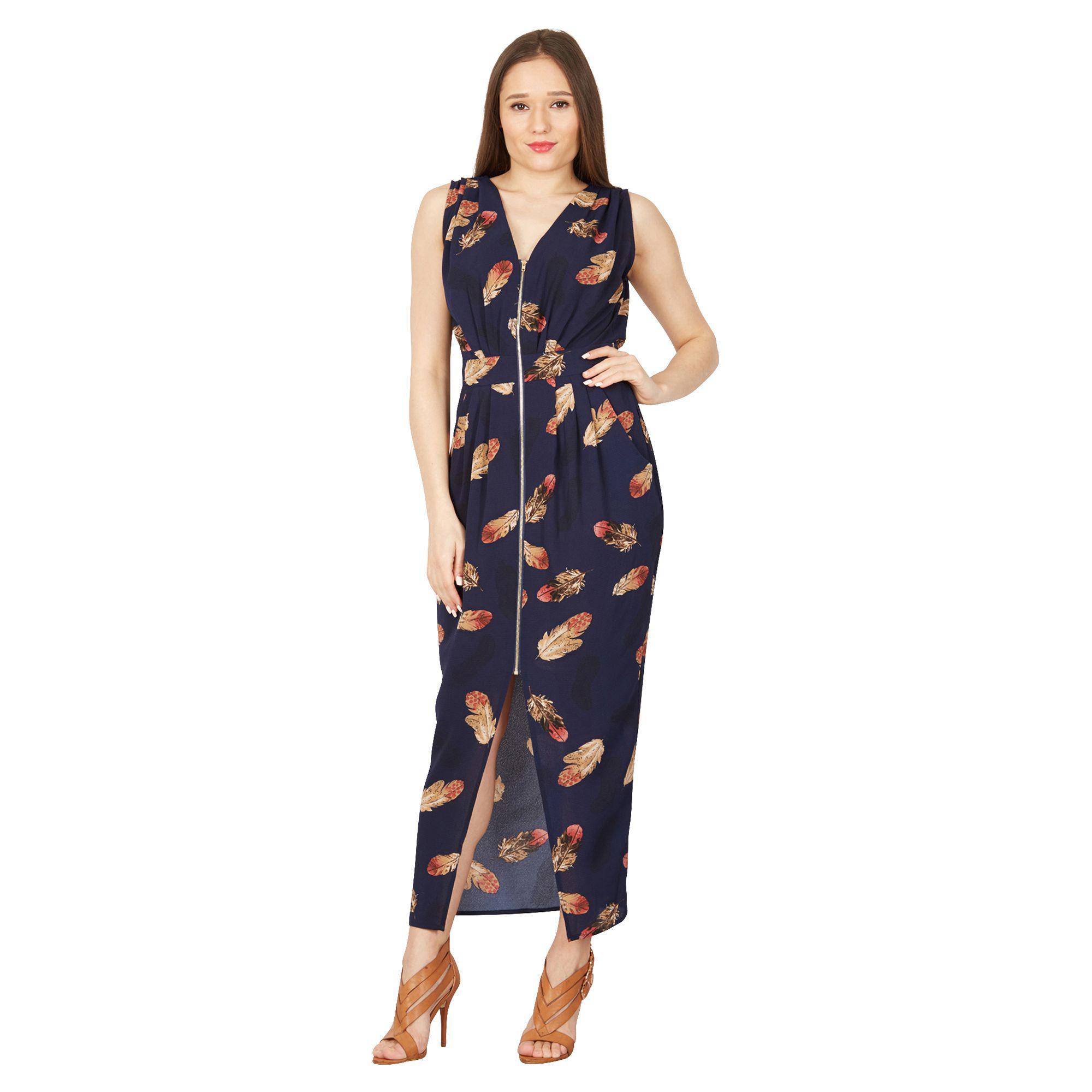 d928b5de4e27 Izabel London Navy Feather Print Maxi Dress in Blue - Lyst