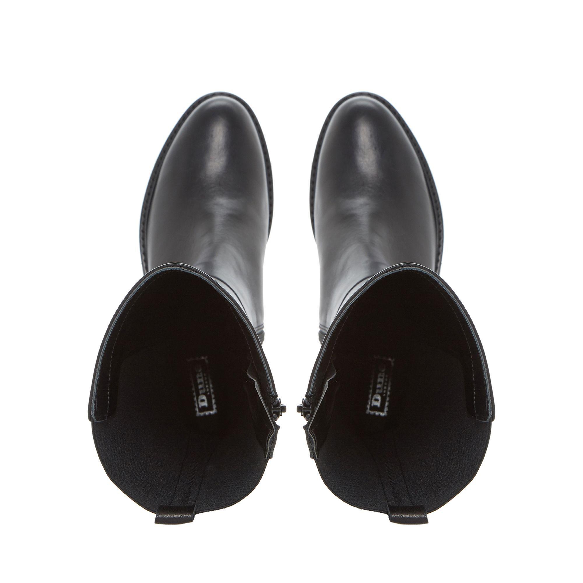 Dune Black 'tula' Elasticated Insert Flatform Knee High Boot
