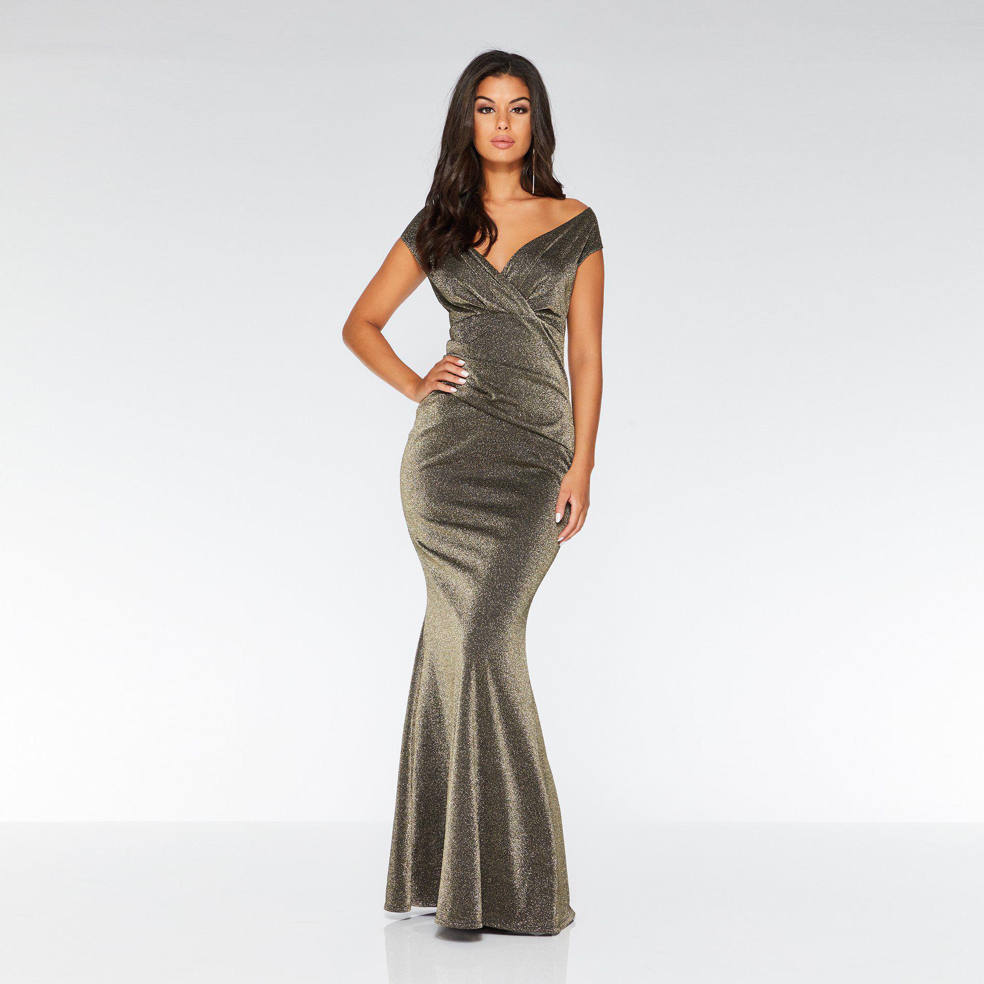 aa5b929a3e1c3 Quiz Gold And Black Glitter Lace Fishtail Maxi Dress - PostParc