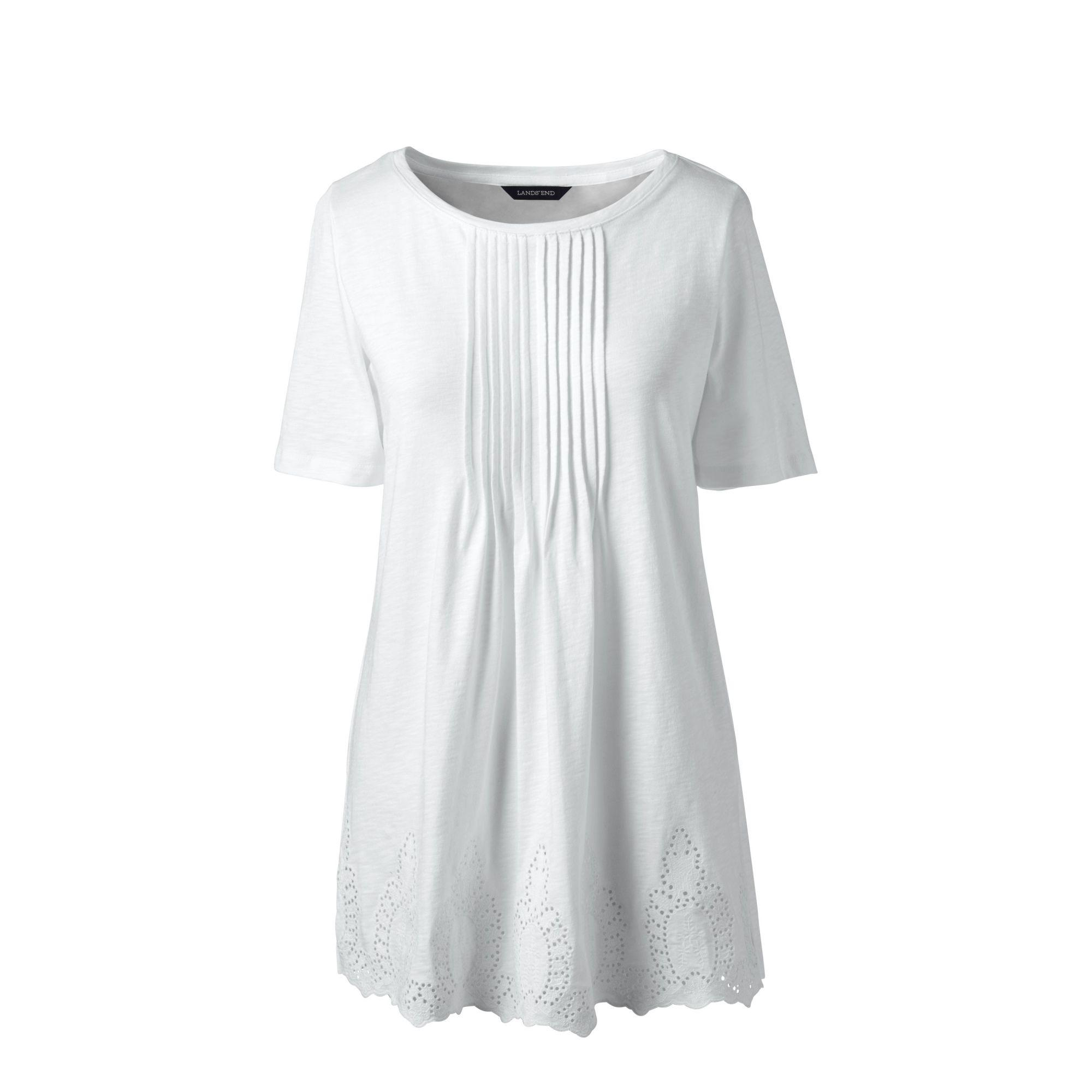 8536fc203f Lands  End White Regular Embroidered Slub Jersey Tunic in White - Lyst