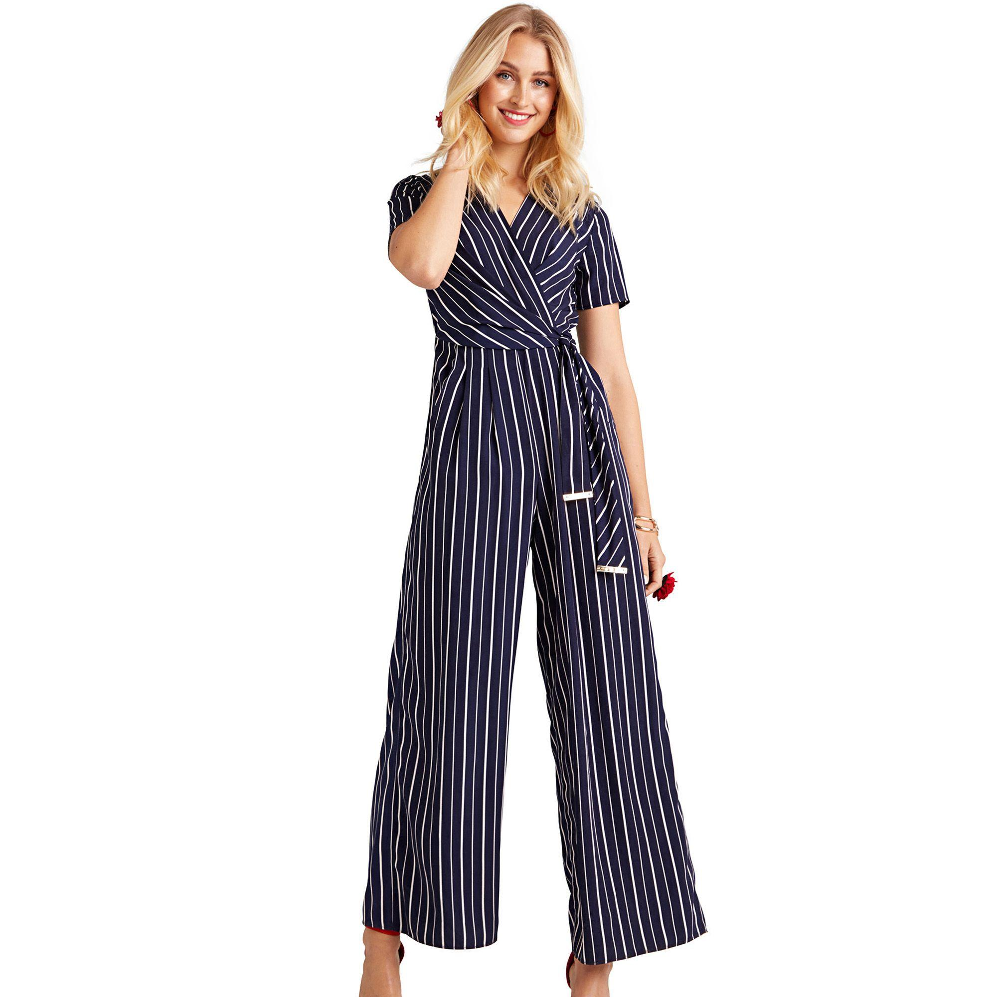5f35d82c0f Yumi  Navy Stripe Wrap Jumpsuit With Tie Detail in Blue - Lyst