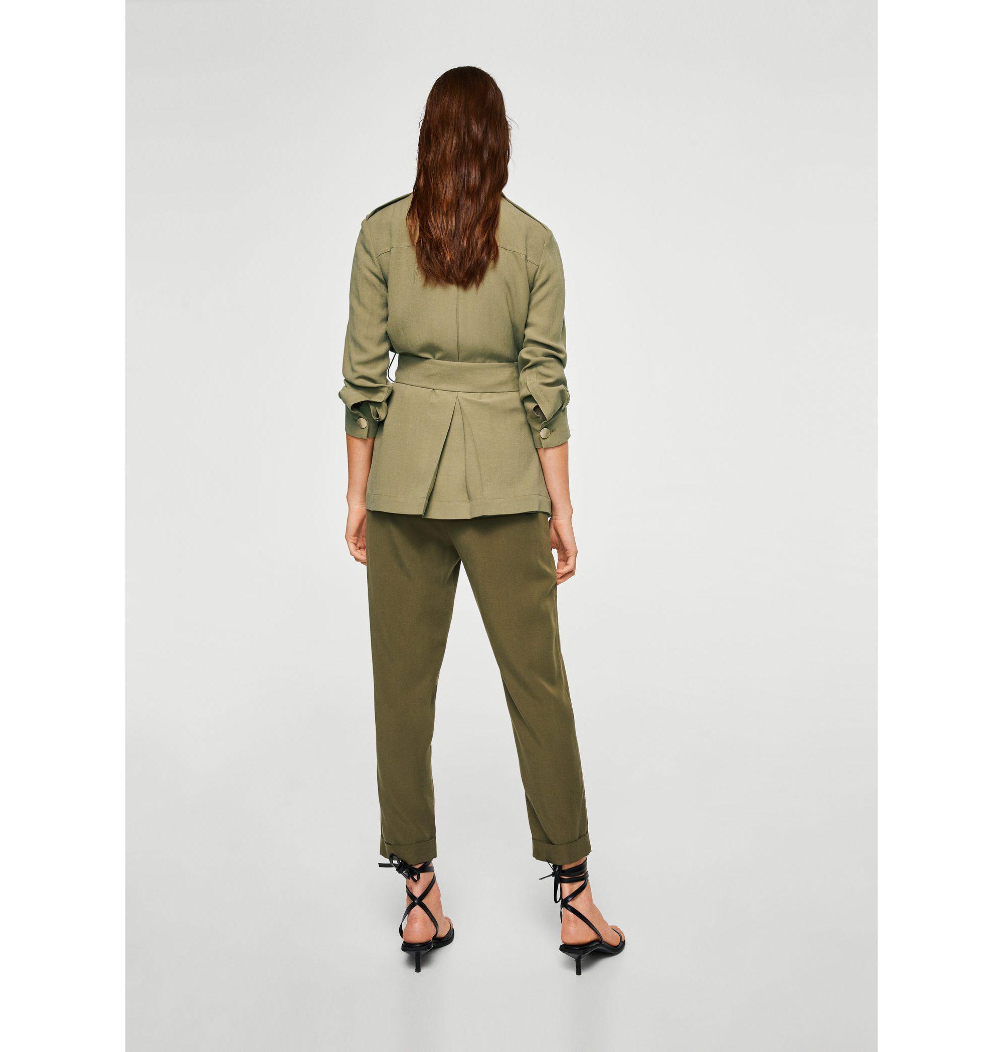 2d54d6ba20 Mango Khaki Green  jungla  3 4 Sleeve Trench Coat in Green - Lyst