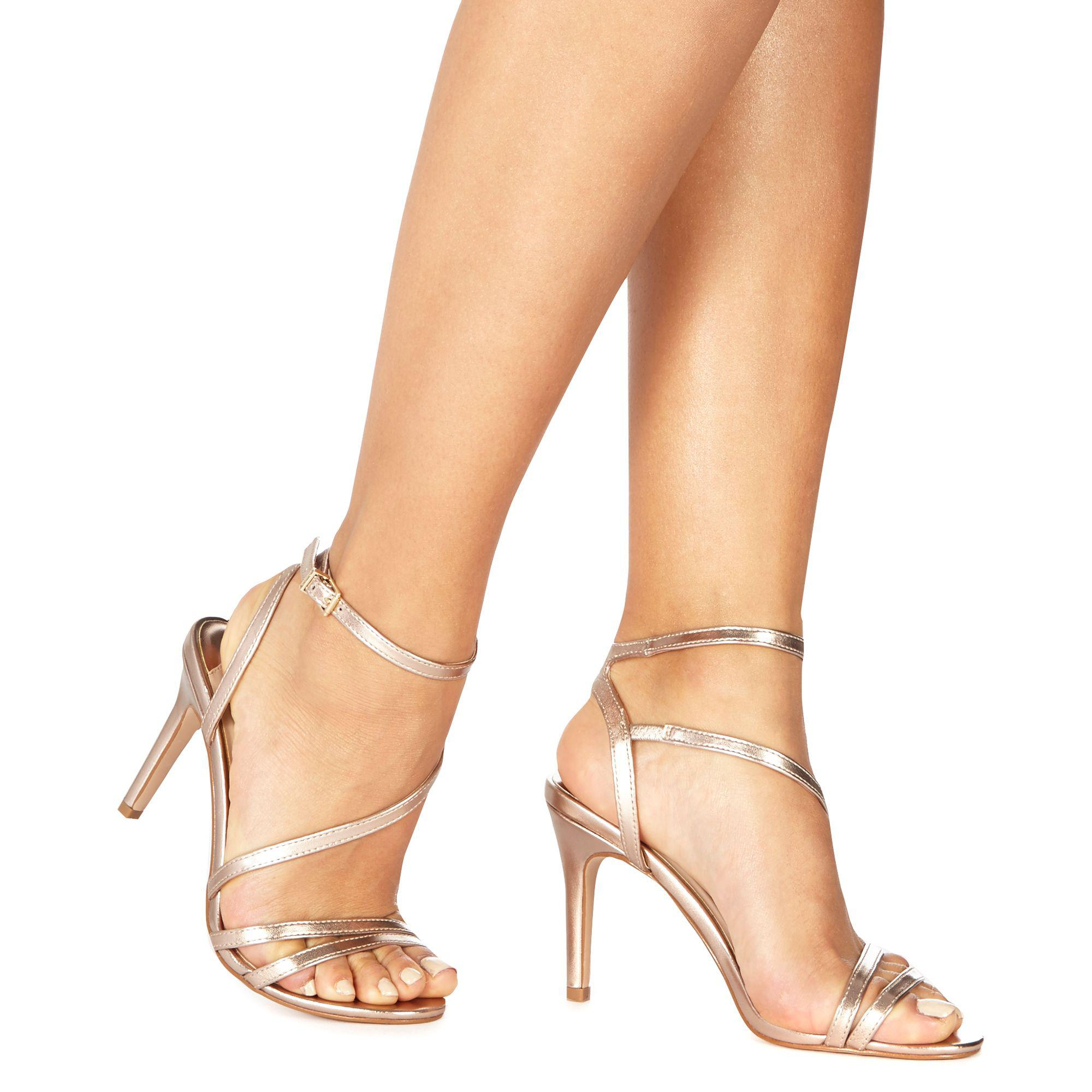db8e90ab06 Faith Rose Gold 'delly' High Stiletto Heel Ankle Strap Sandals in ...