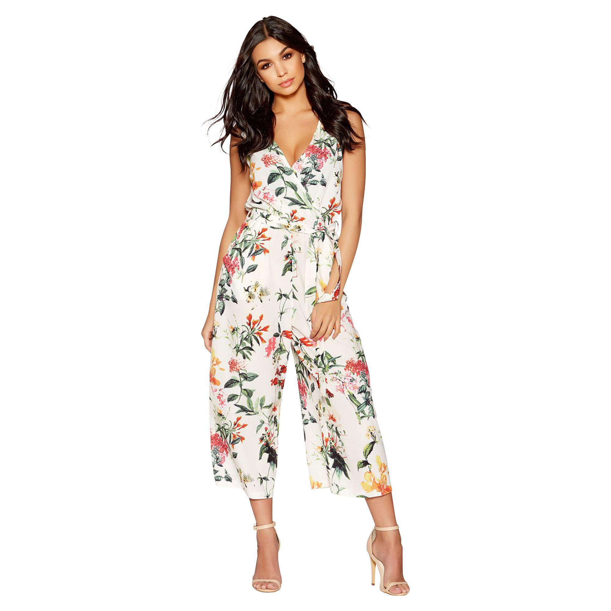 976f7cedcf2 Quiz White And Orange Floral Wrap Jumpsuit in White - Lyst