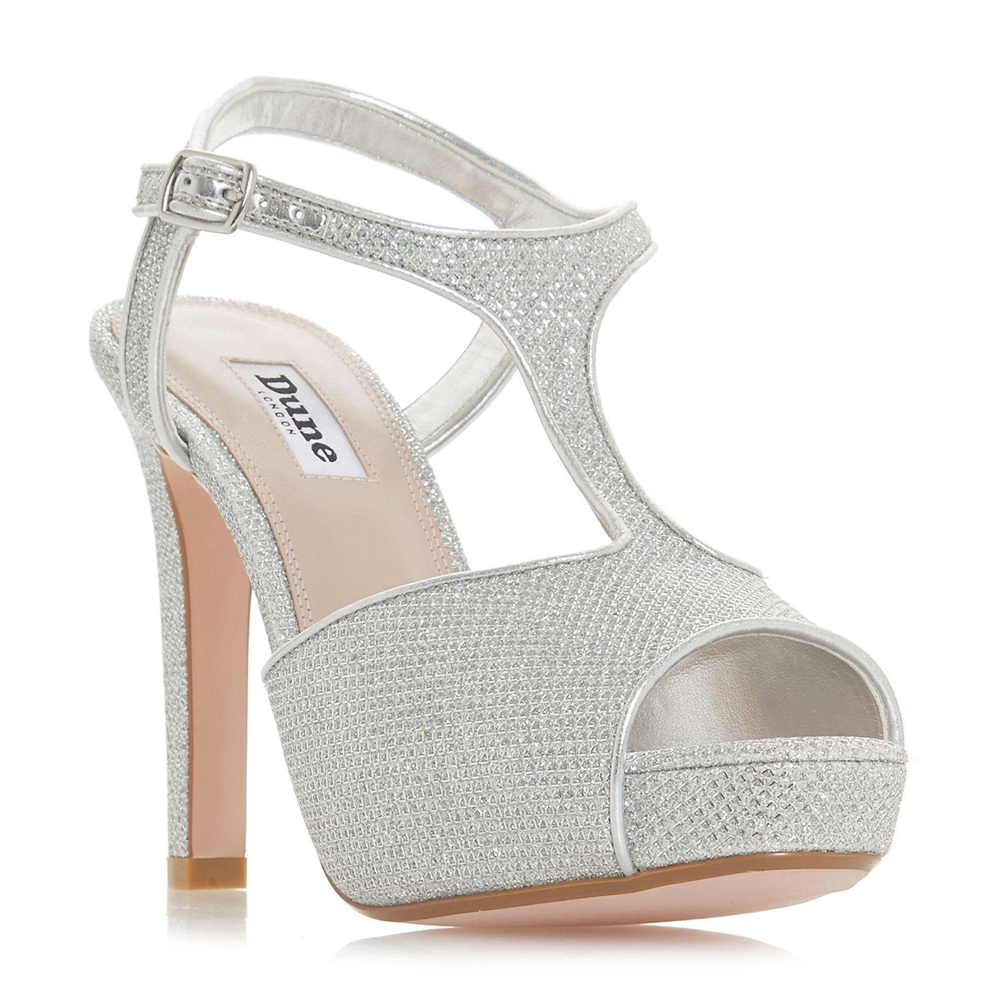 0328e635d Dune Silver  marleigh  High Stiletto Heel T-bar Sandals in Metallic ...