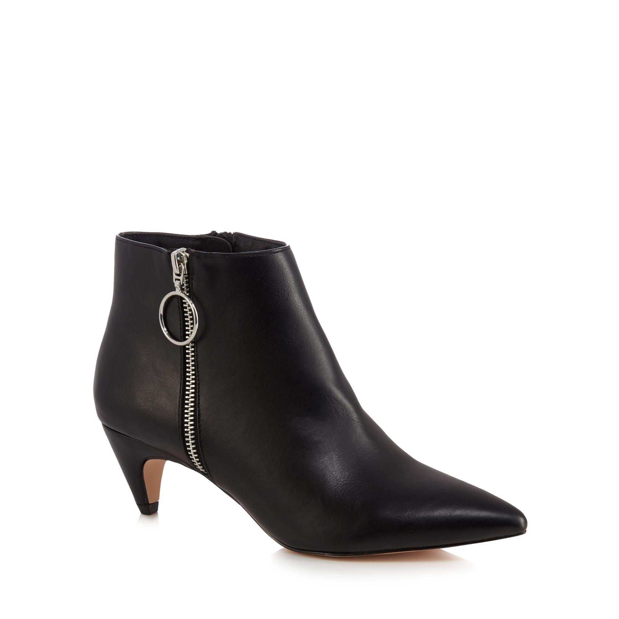 Faith Black 'bolly' Mid Block Heel Ankle Boots