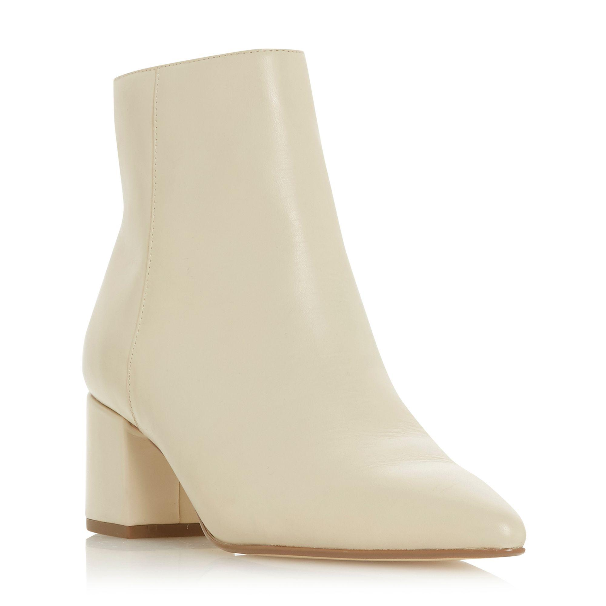 b27956caee632 Dune Cream Leather 'omari' Mid Block Heel Ankle Boots in Natural - Lyst