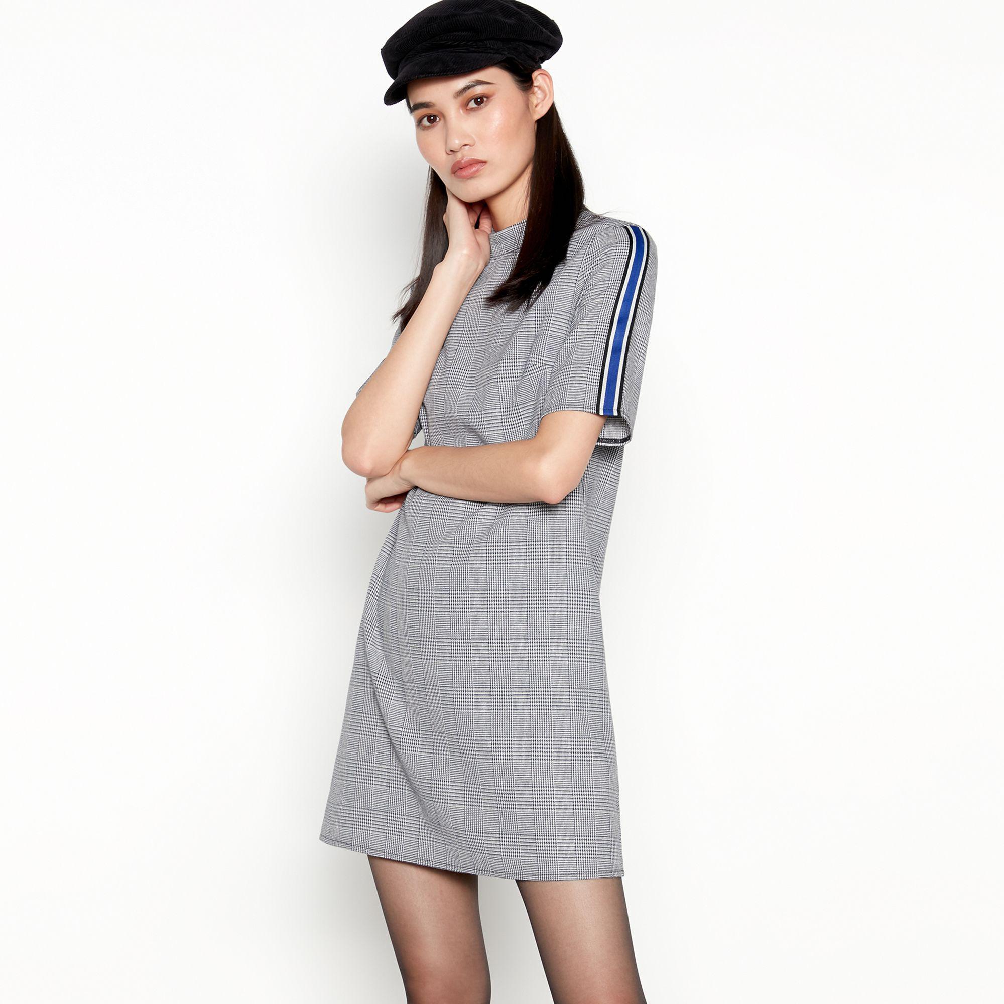 3374d88d582 Red Herring Black Check Side Stripe Mini Dress in Black - Lyst