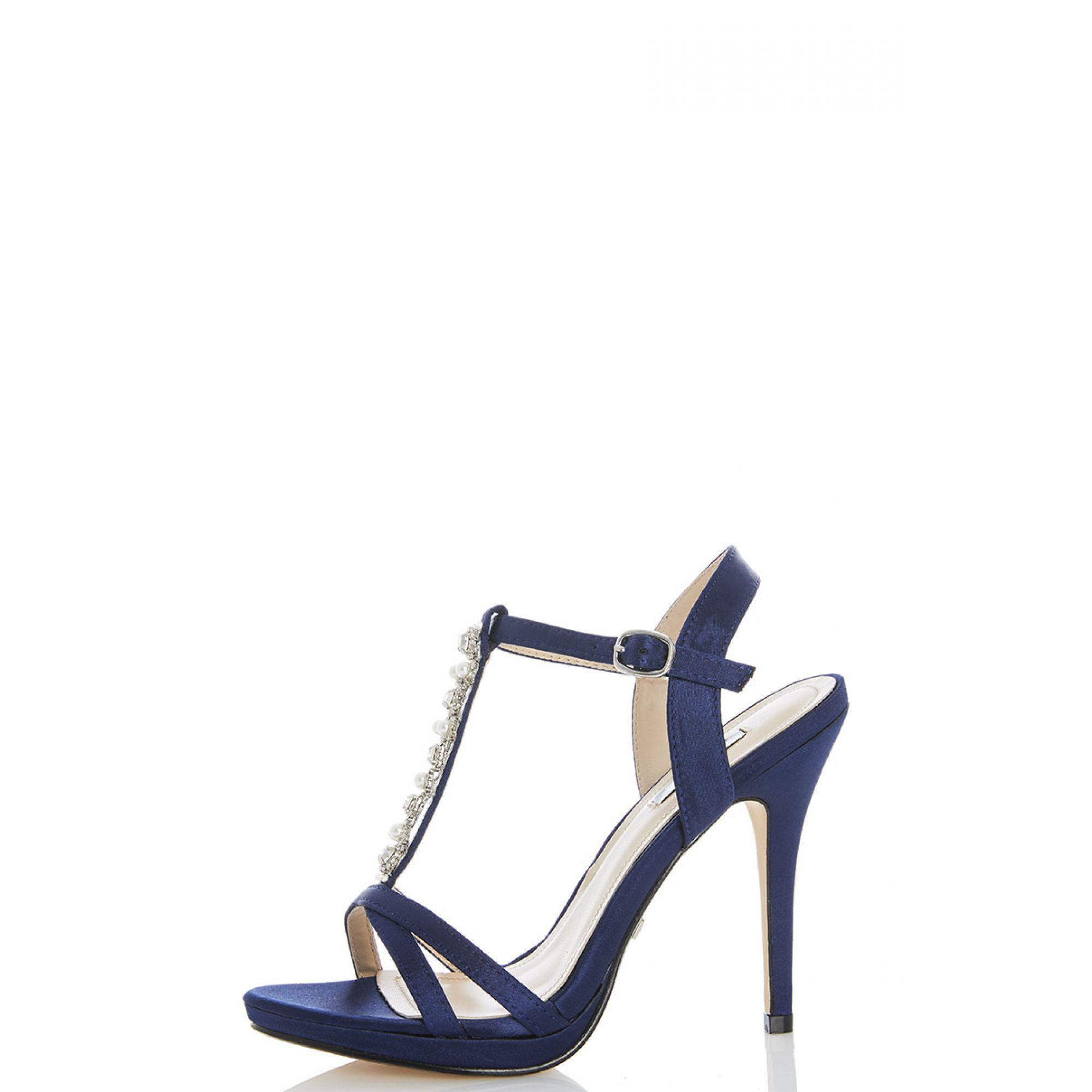 df1e4c1ad Quiz Navy Satin Pearl And Diamante Sandals in Blue - Lyst