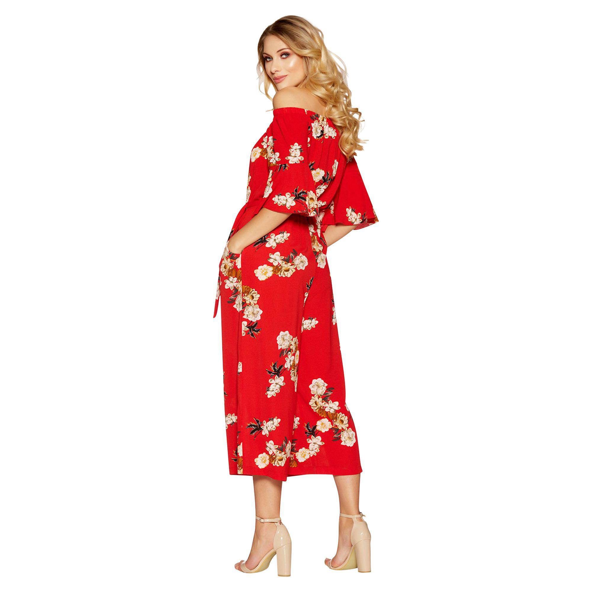 9e1cac13cb70 Quiz - Red Floral Print Frill Sleeve Culotte Jumpsuit - Lyst. View  fullscreen