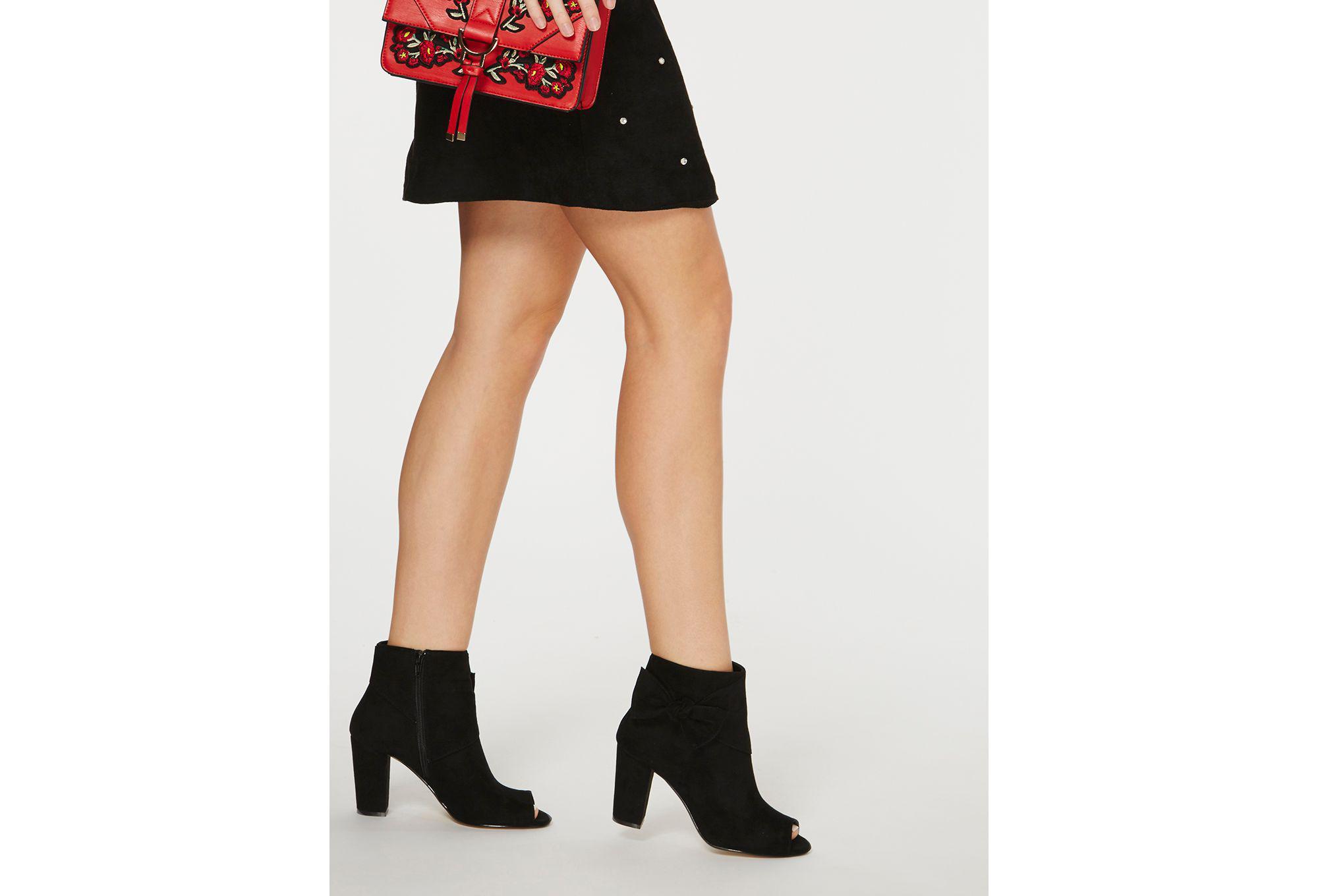 Dorothy Perkins Black Sammia Peep Toe Ankle Boots