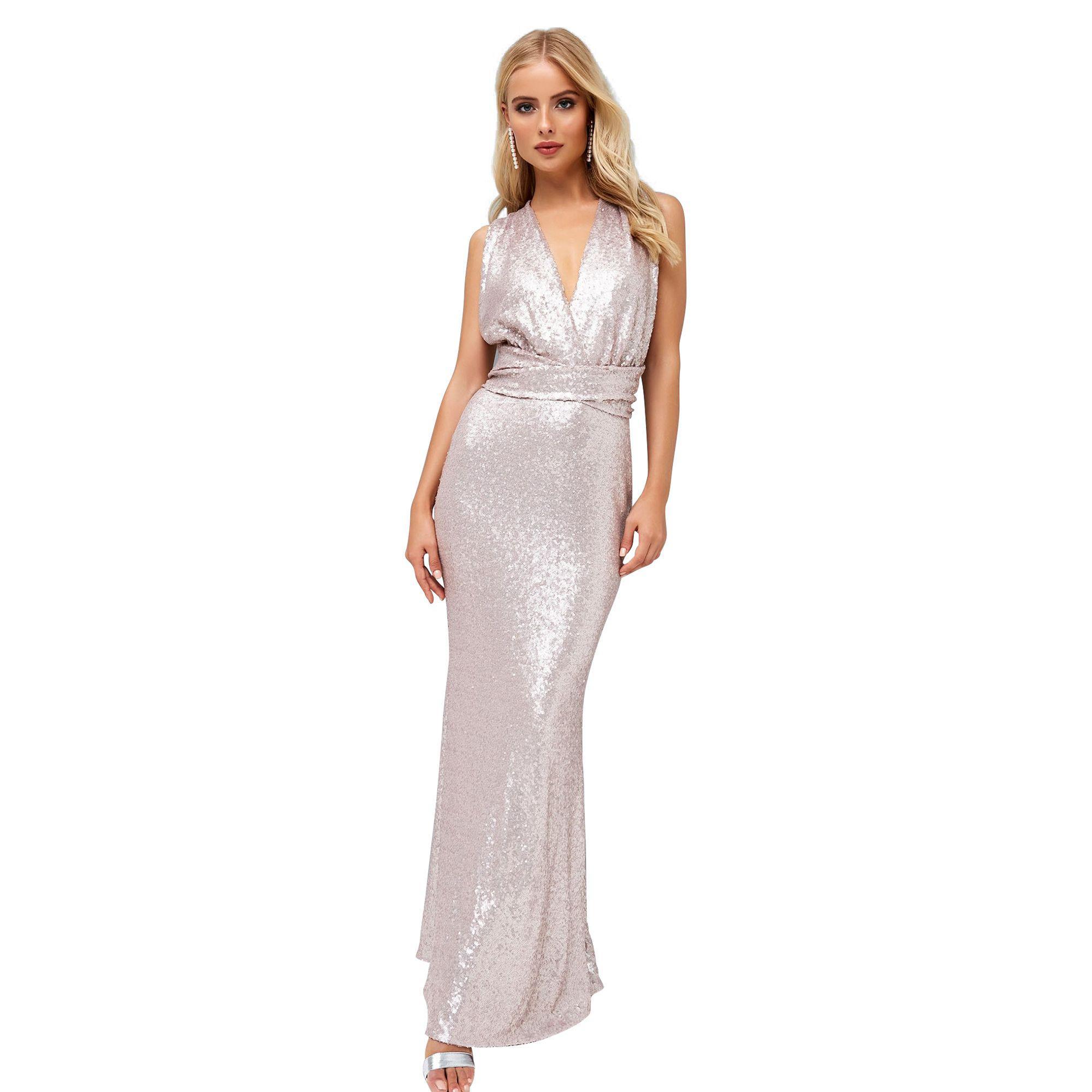 Bridesmaid Sequin Upper Maxi Dress With Tulle Tiered Skirt - Light pink Little Mistress nTjDKUk