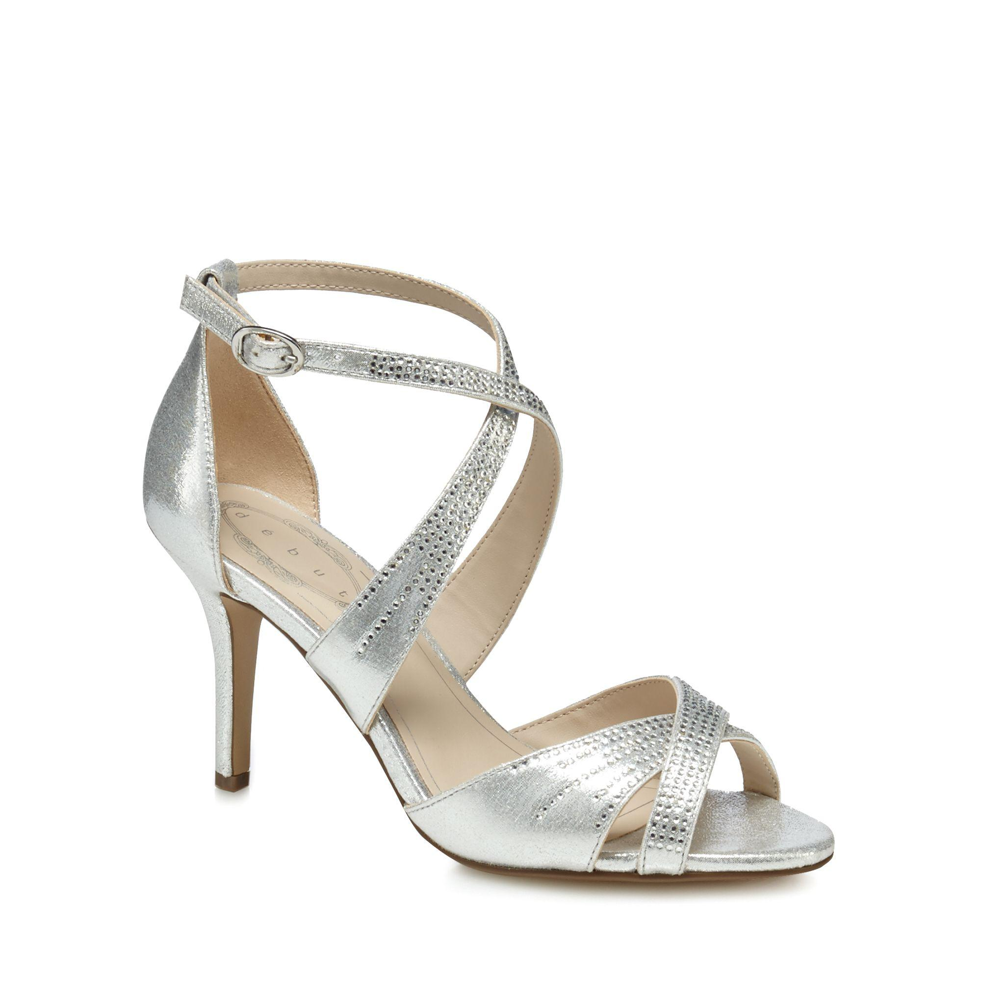 0c7b05ca5dd Début Silver  donte  High Stiletto Heel Ankle Strap Sandals in ...