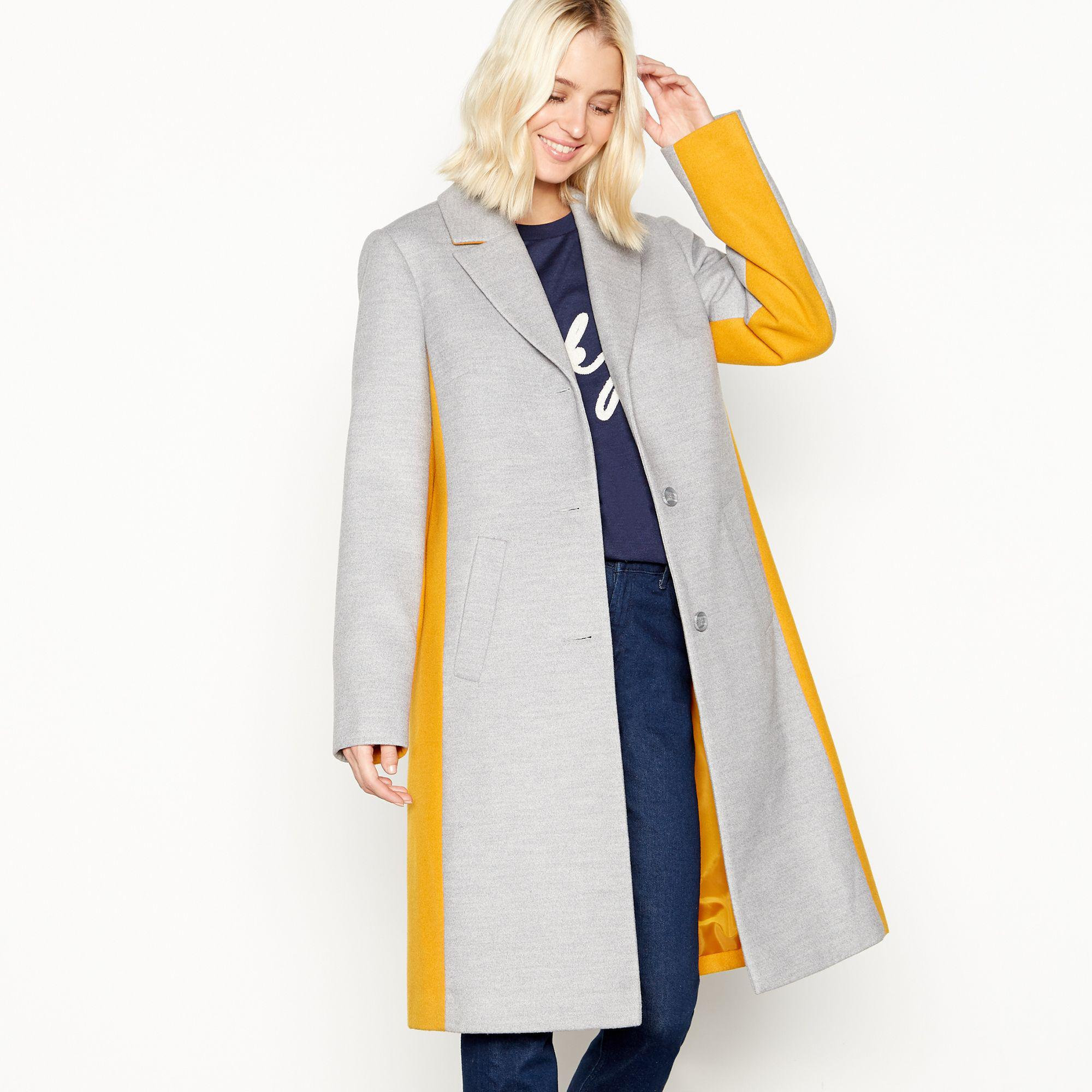 40086199364a Red Herring Grey Colourblock Belted Longline Coat in Gray - Lyst