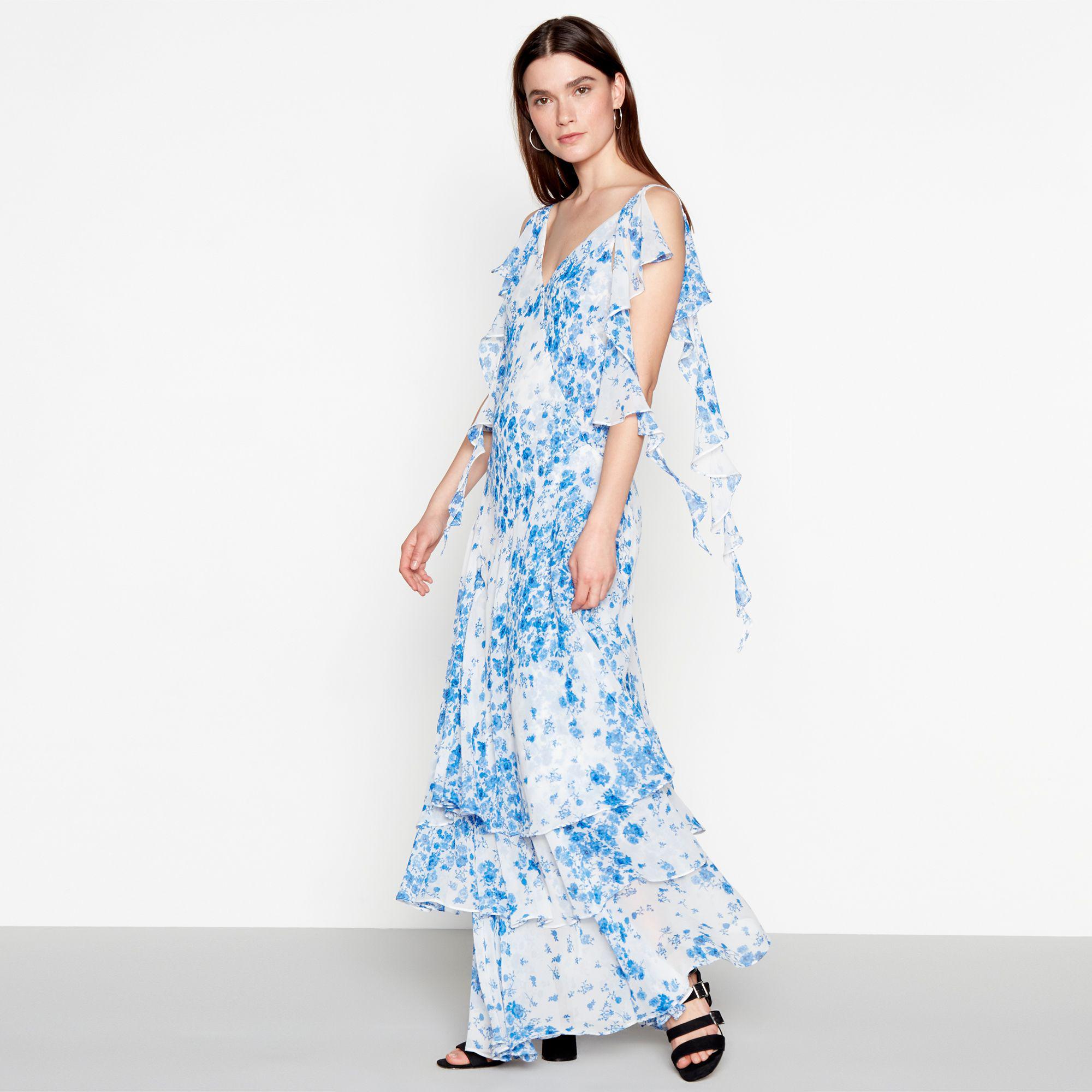 28ded5d21f8e Preen By Thornton Bregazzi Pale Blue Floral Print Chiffon V-neck ...