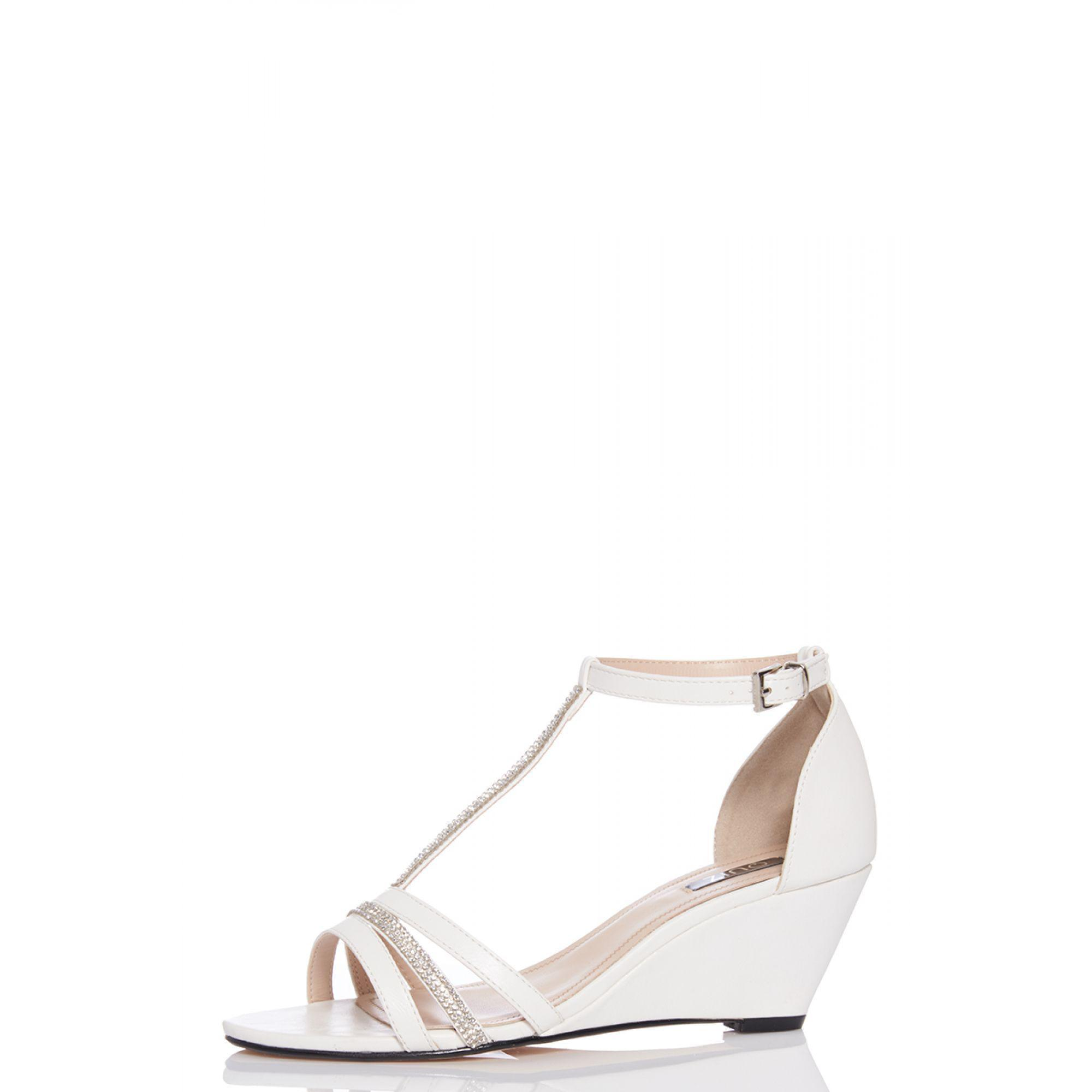 Quiz White Diamante Strap Low Heel Wedge in White - Lyst 4748b8d1e0ff