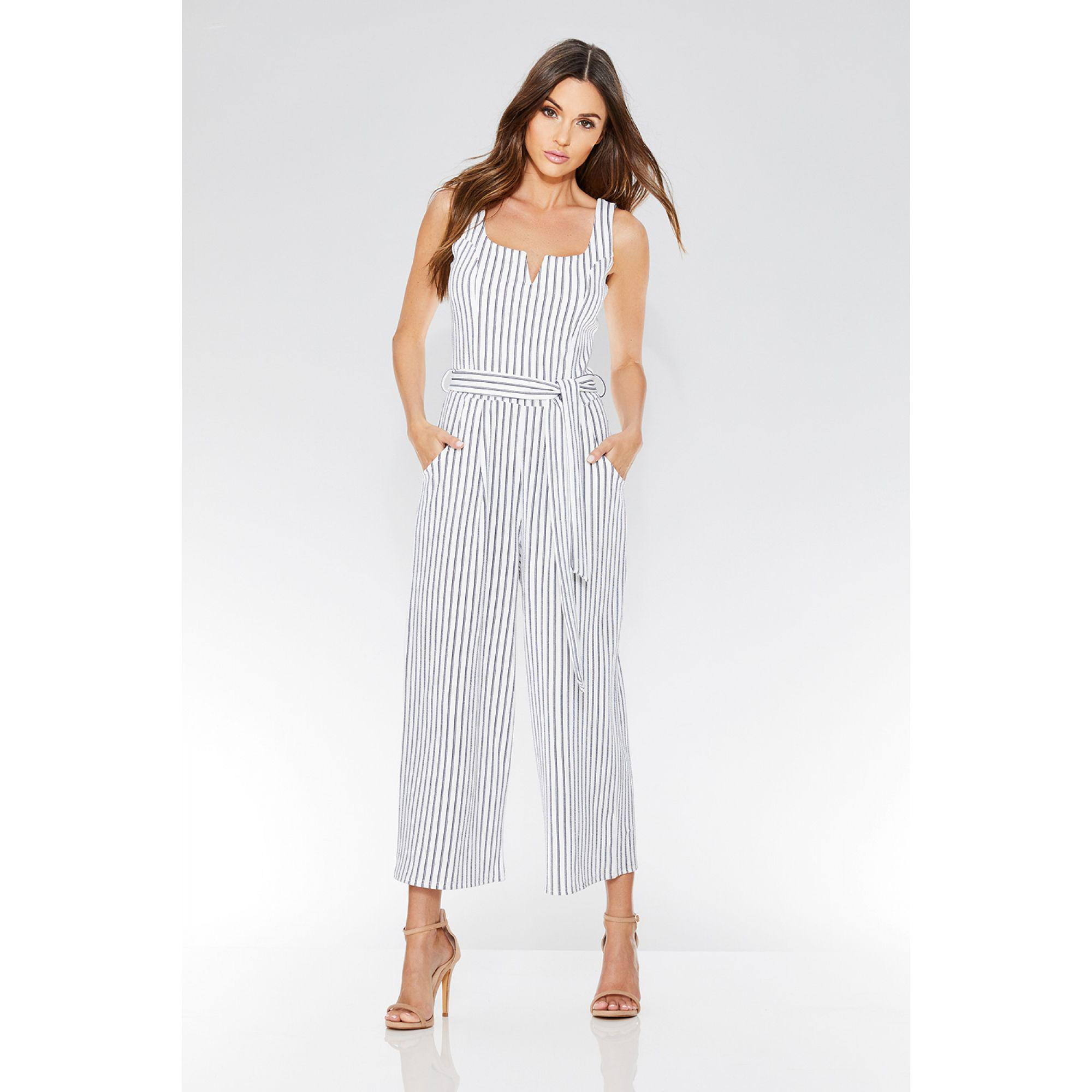 46dba997912c Quiz White And Navy Stripe Tie Belt Jumpsuit in White - Lyst