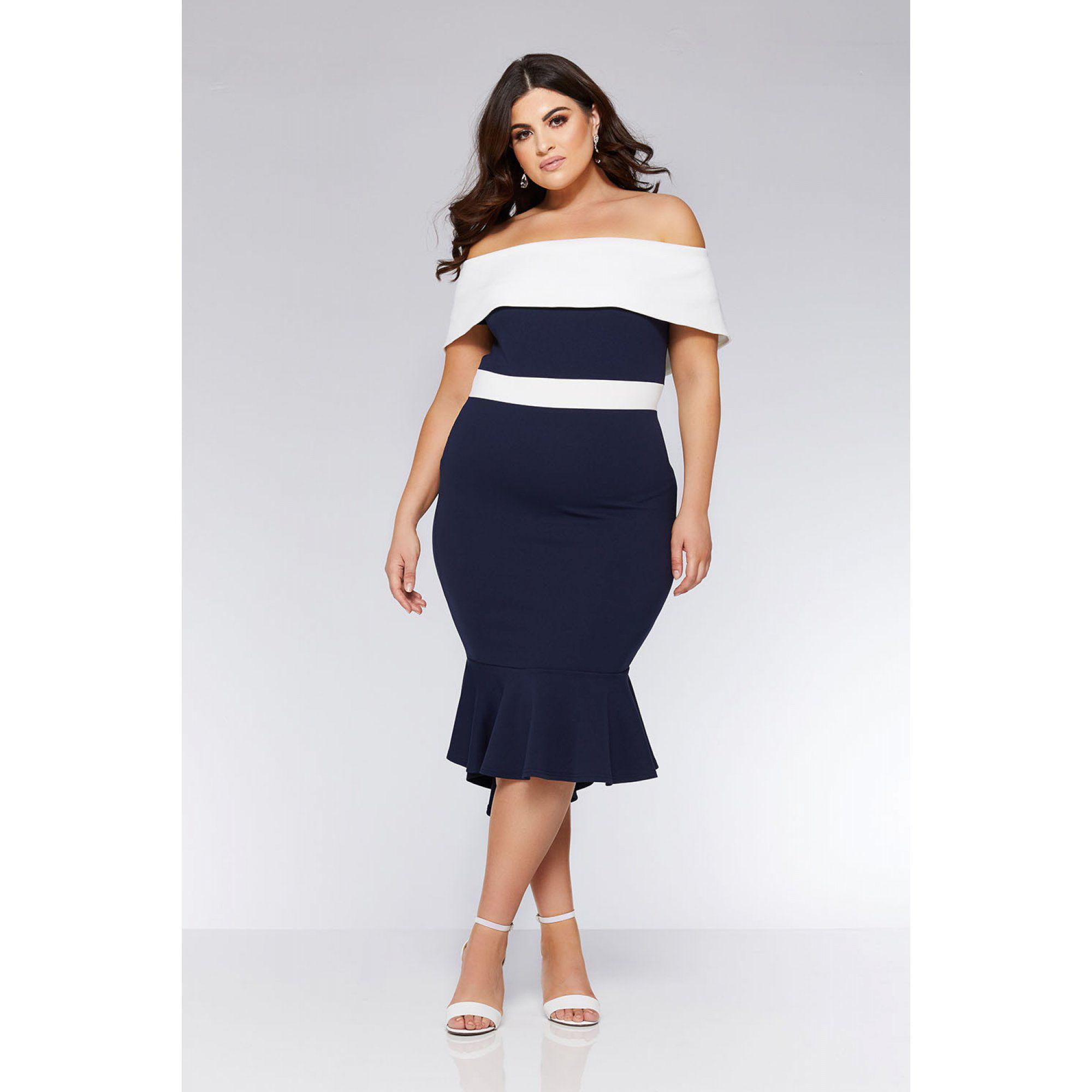0801cda528ab Quiz Curve Navy And Cream Bardot Dip Hem Dress in Blue - Lyst