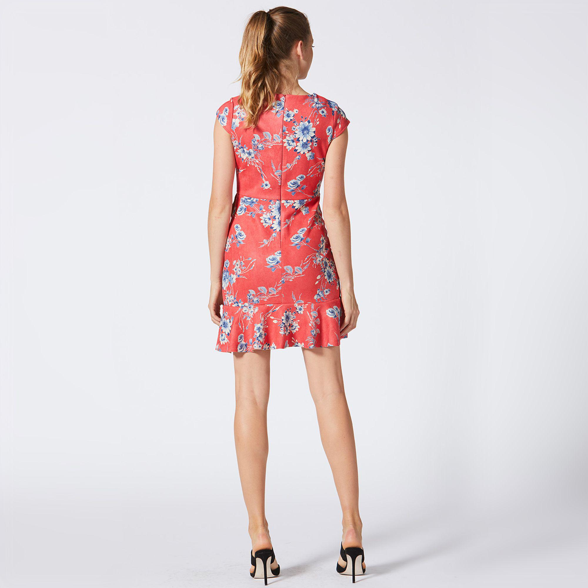e11160de2d52 ... Floral Suede Ruffled Fit And Flare Dress - Lyst. View fullscreen