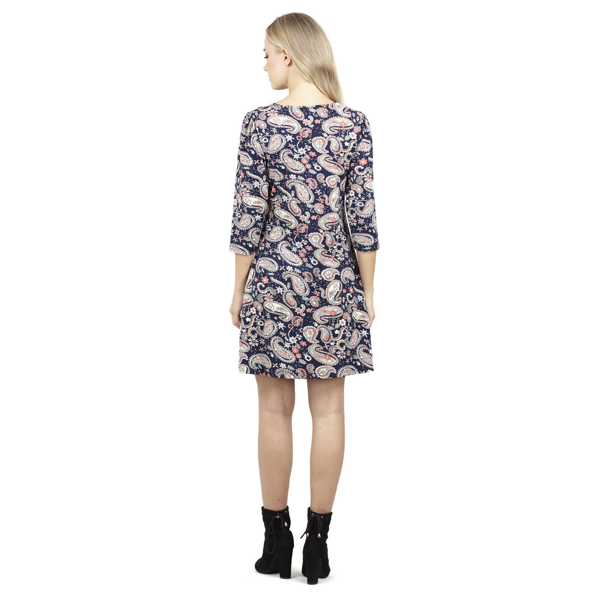 45860c13994 Izabel London Navy 3/4 Sleeve Printed Tunic Dress in Blue - Lyst