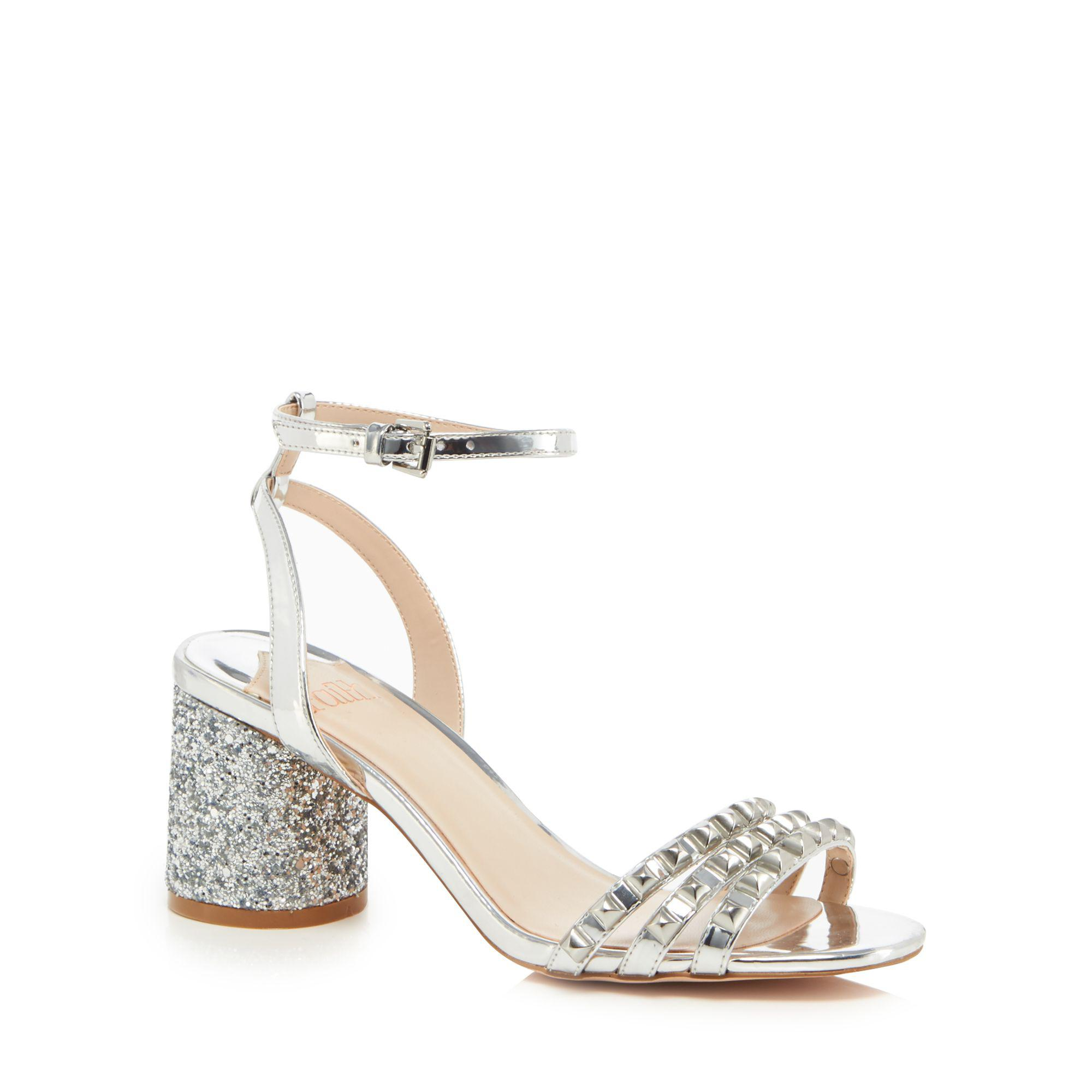 5ec503125a9 Faith Silver  davood  Mid Block Heel Ankle Strap Sandals in Metallic ...