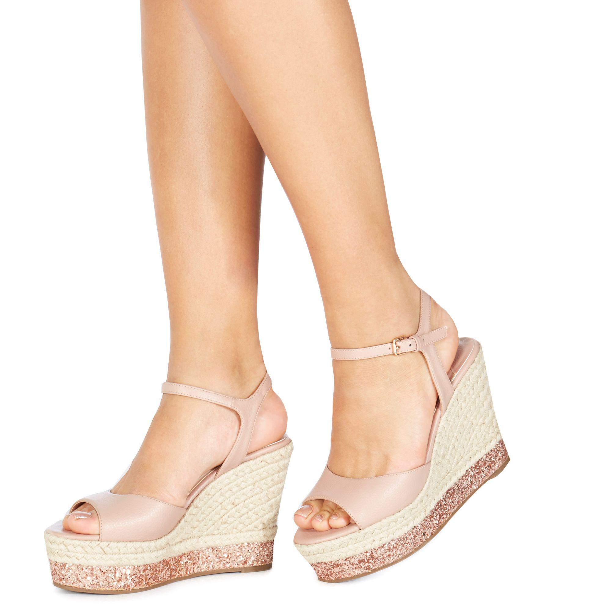 6ceb3c84fbf4 Faith Light Pink  liddy  High Wedge Heel Ankle Strap Sandals in Pink ...