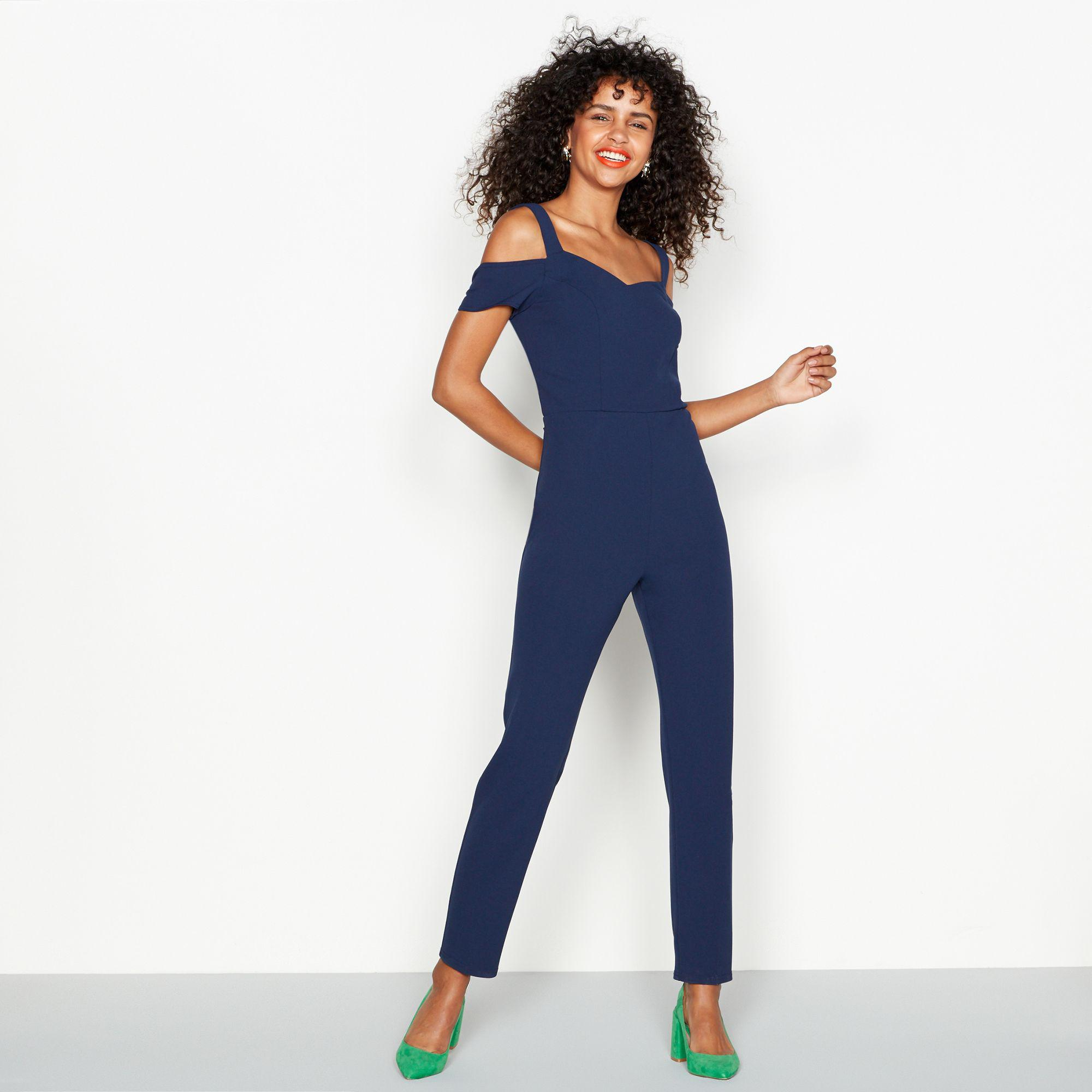7a0124456e7 Red Herring Navy Cold Shoulder Jumpsuit in Blue - Lyst