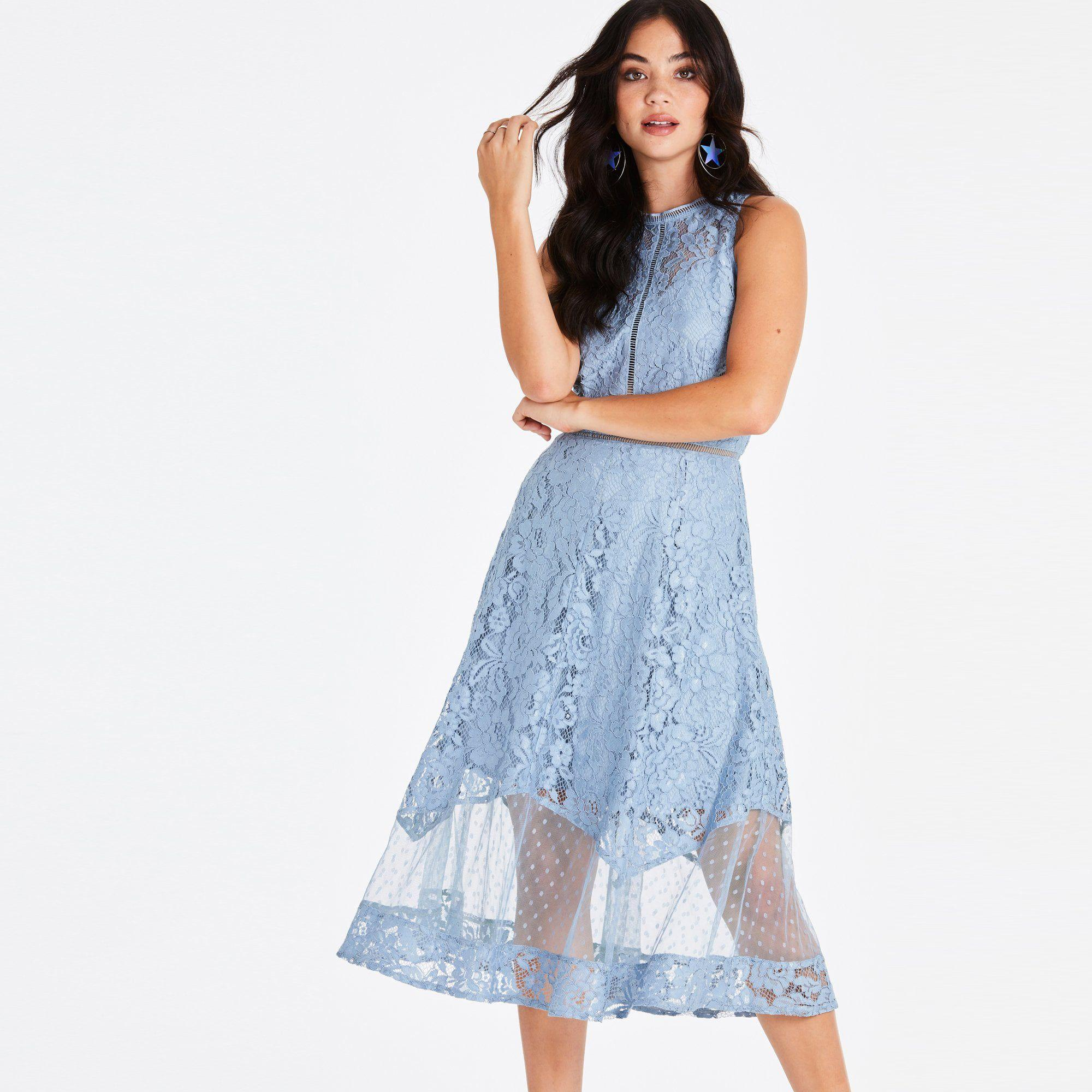 a7050f756aa Little Mistress Blue Alexina Blue Lace Midi Dress in Blue - Lyst