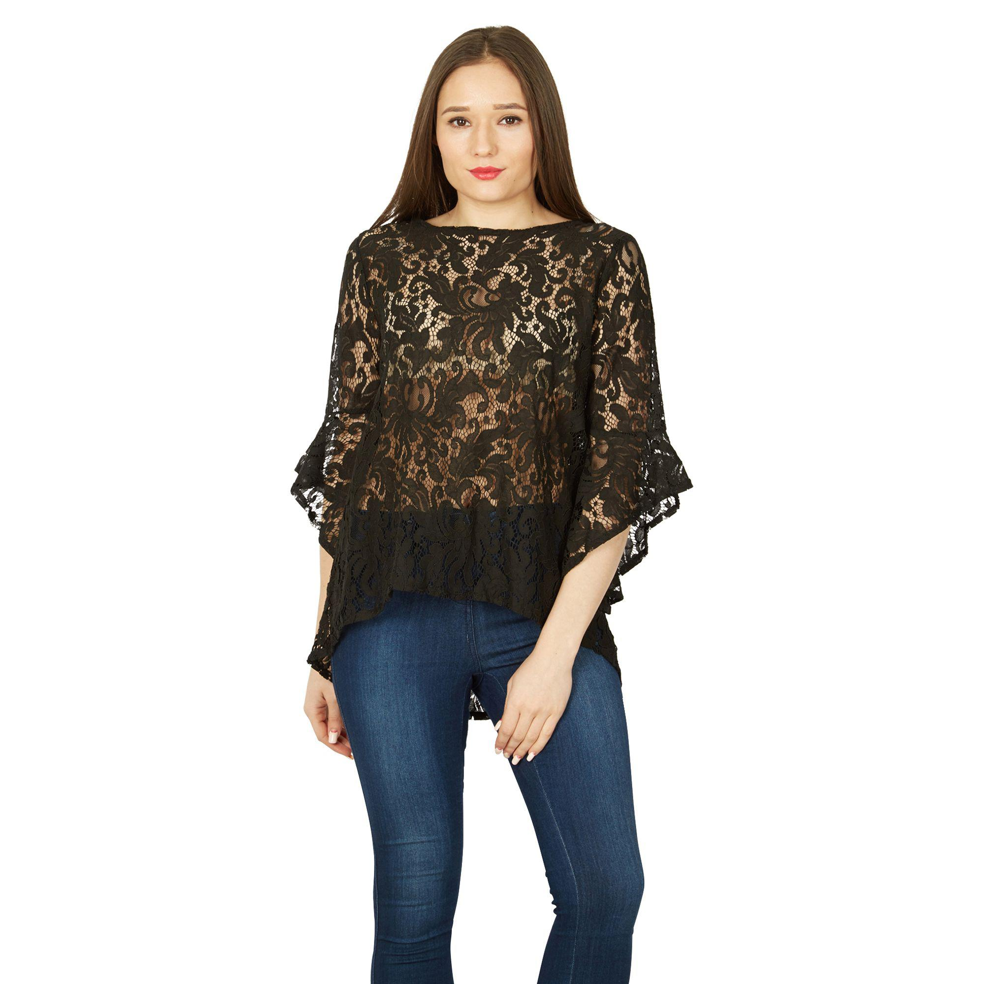 ae53d472a4683e Izabel London Black Bell Sleeve Lace Top in Black - Lyst