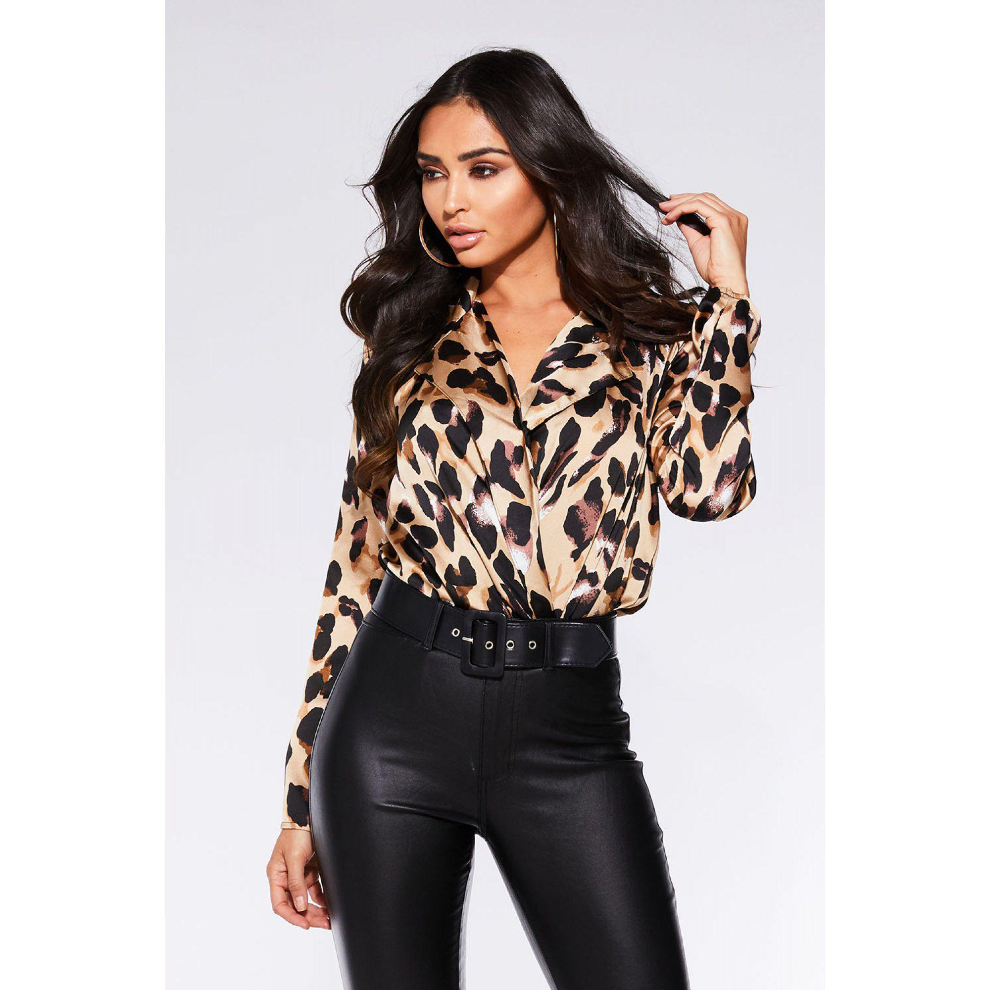 42ff863f26 Quiz Stone And Black Satin Leopard Print Bodysuit in Natural - Lyst