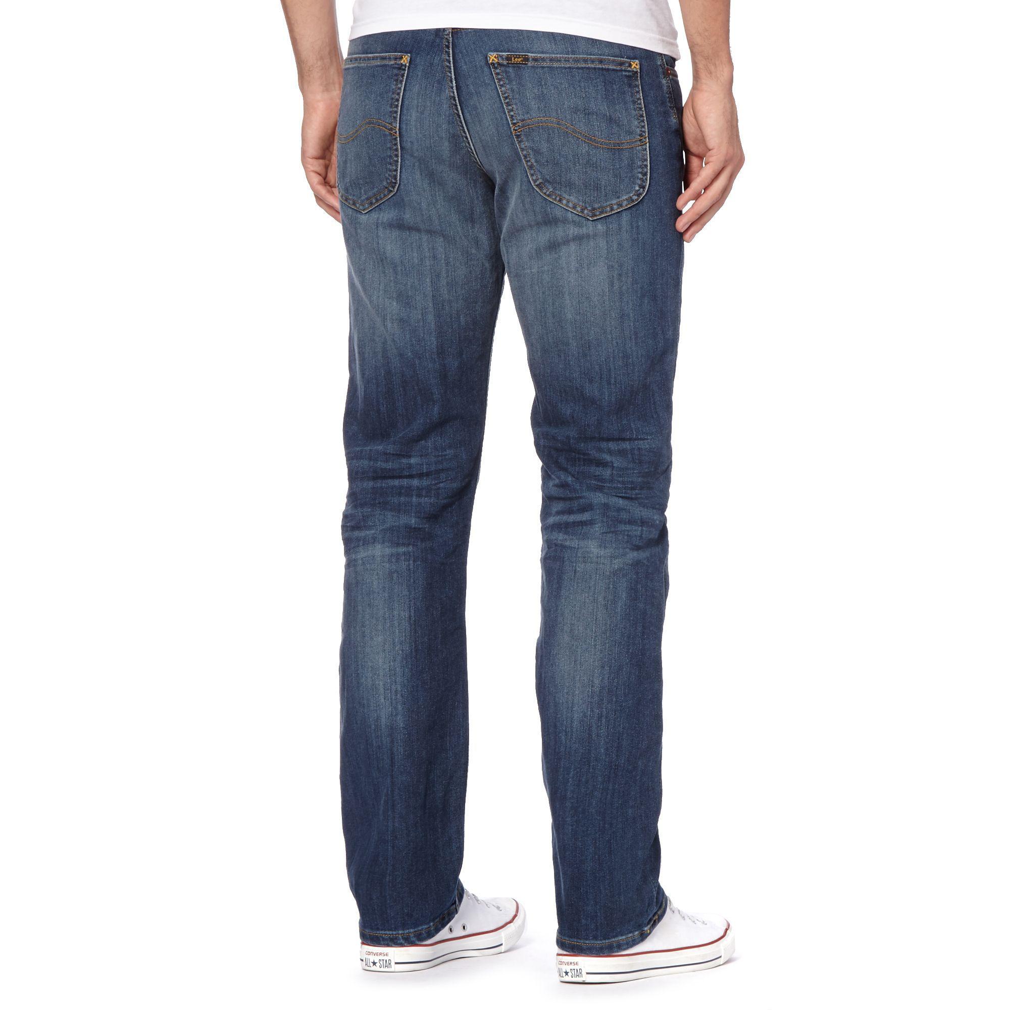 Lee Jeans Denim Blue Stone Wash 'brooklyn' Regular Fit Jeans for Men