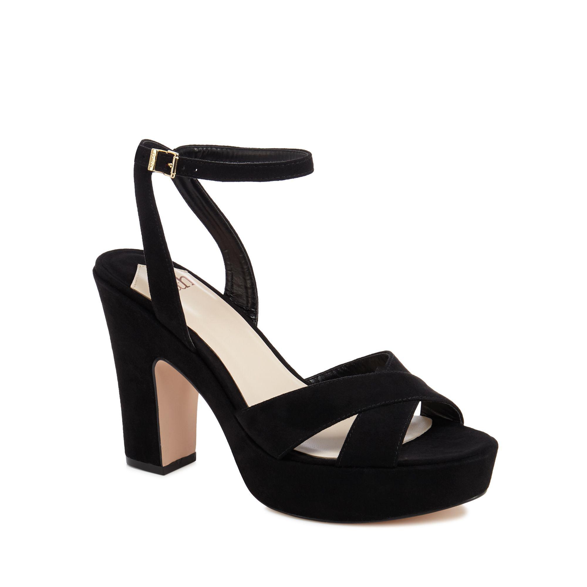 60411b94fe Faith Black Suedette 'dorm' High Block Heel Ankle Strap Sandals in ...